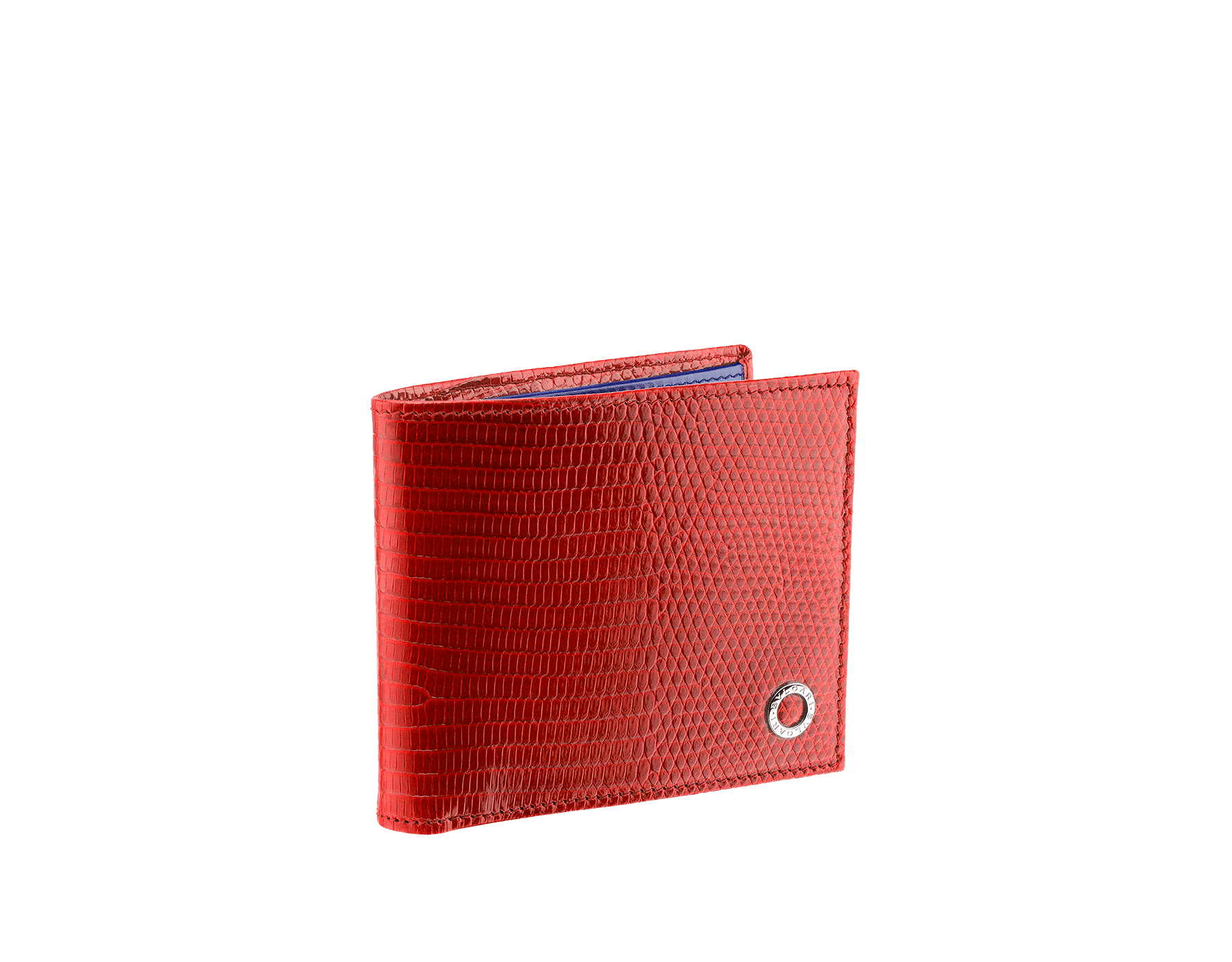 Wallet hipster for men in ruby red shiny lizard skin, royal sapphire calf leather and royal sapphire nappa lining, with brass palladium plated hardware featuring the BVLGARI BVLGARI motif. 282883 image 1