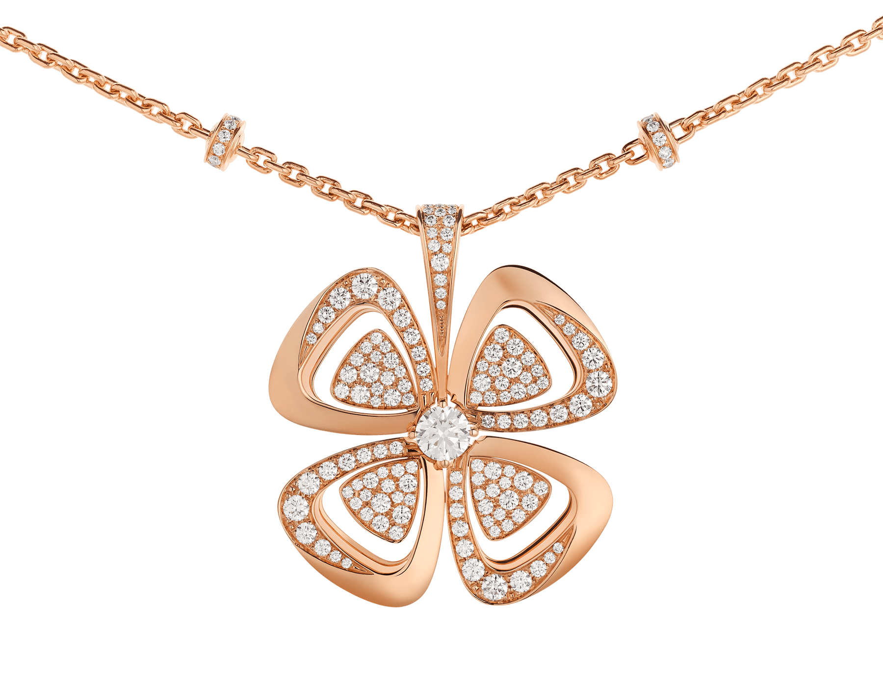 Fiorever 18 kt rose gold necklace set with a central round brilliant-cut diamond and pavé diamonds. 357218 image 3