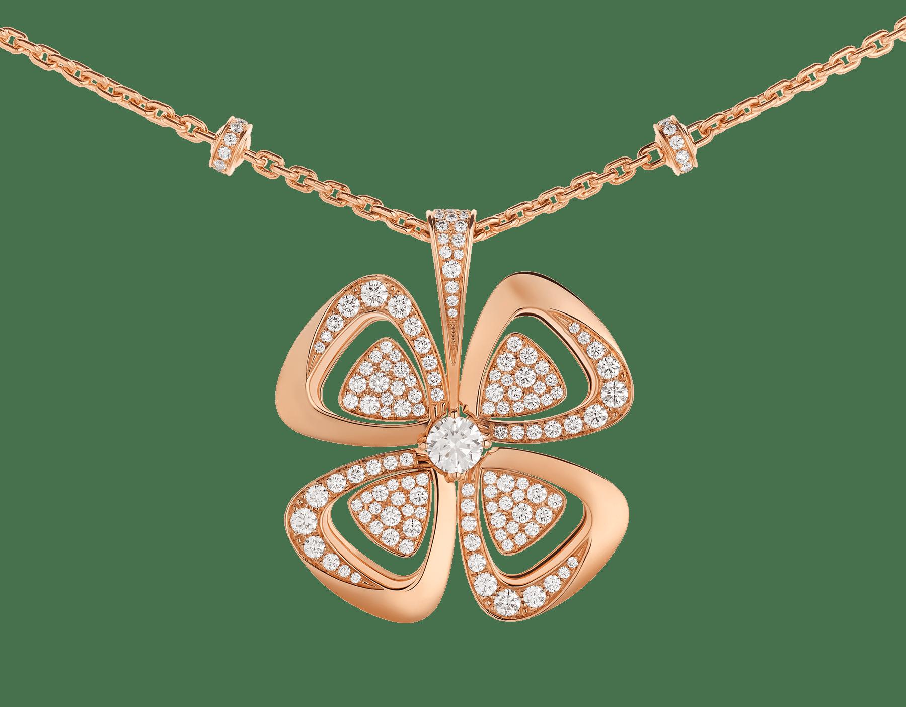Fiorever咏绽系列18K玫瑰金项链,中央镶嵌一颗圆形明亮式切割钻石,饰以密镶钻石。 357218 image 3