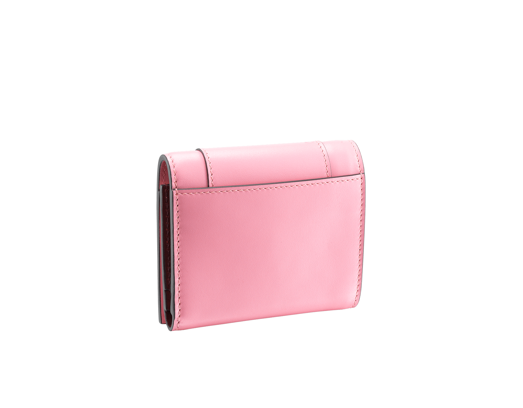 Serpenti Forever super compact wallet in flamingo quartz and roman garnet calf leather. Iconic snakehead zip puller in black and white enamel, with green malachite enamel eyes. 288035 image 3