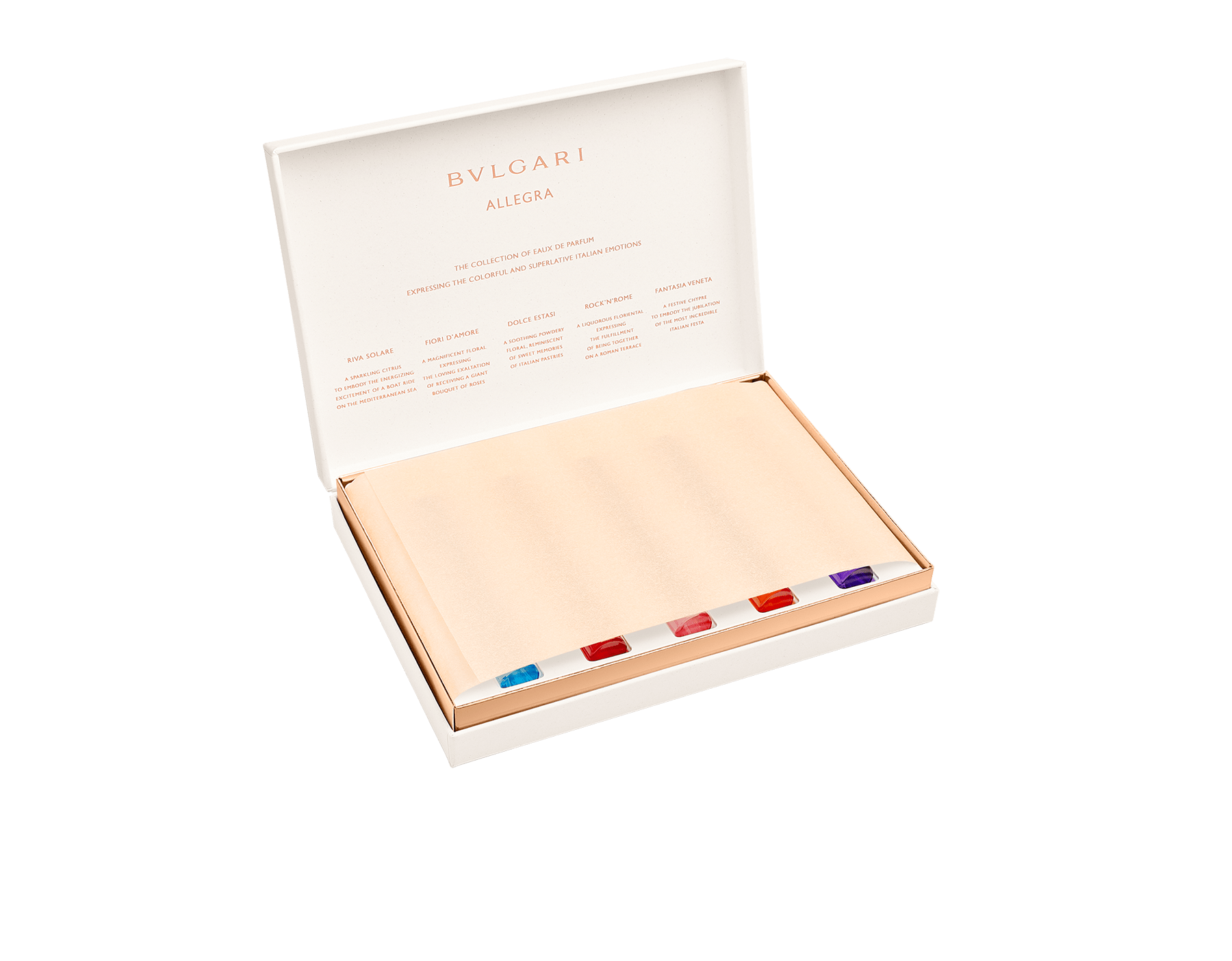 Das BVLGARI Allegra Kennenlern-Set umfasst fünf ausgewählte Eaux de Parfum, die für jeweils für ein intensives italienisches Gefühl stehen. 41291 image 3