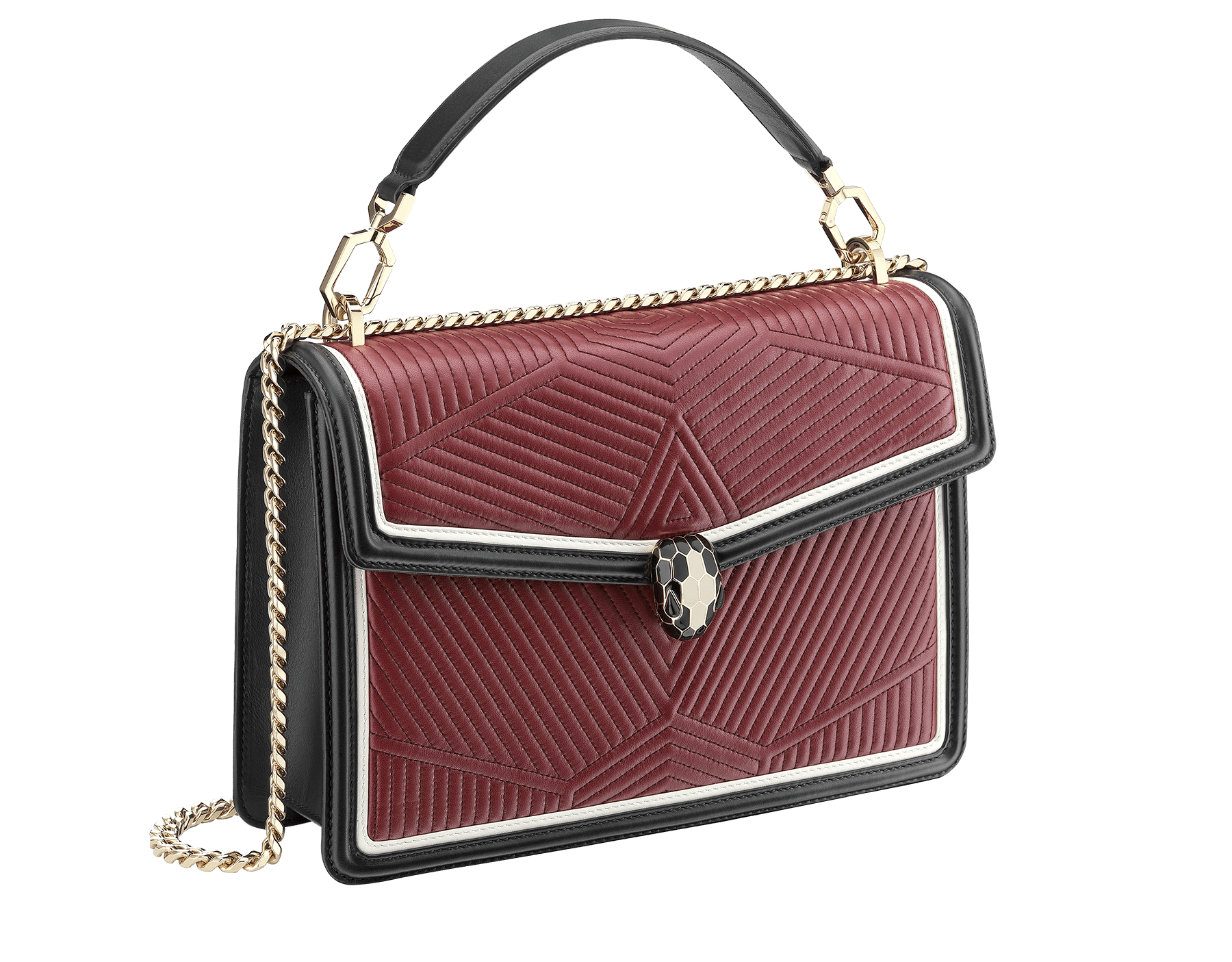 Top handle bag Serpenti Forever featuring a Framed Quilted motif in roman garnet nappa and black smooth calf leather. Brass light gold plated tempting snake head closure in black and white enamel, with eyes in black onyx. 973-FQDc image 2
