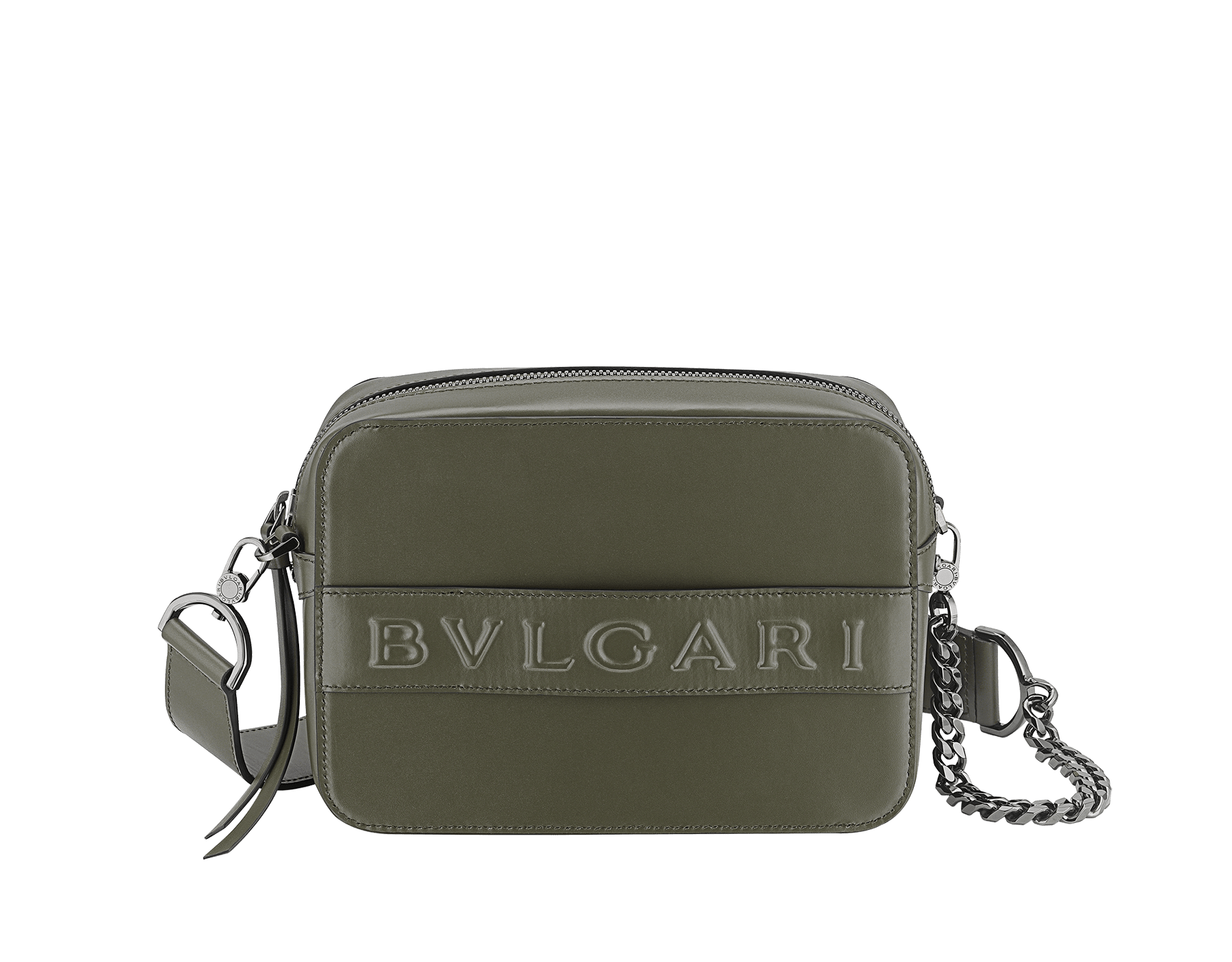 """Bvlgari Logo"" camera bag in mimetic jade calf leather with zipped closure. Dark ruthenium plated brass hardware. Camera-Bag image 1"