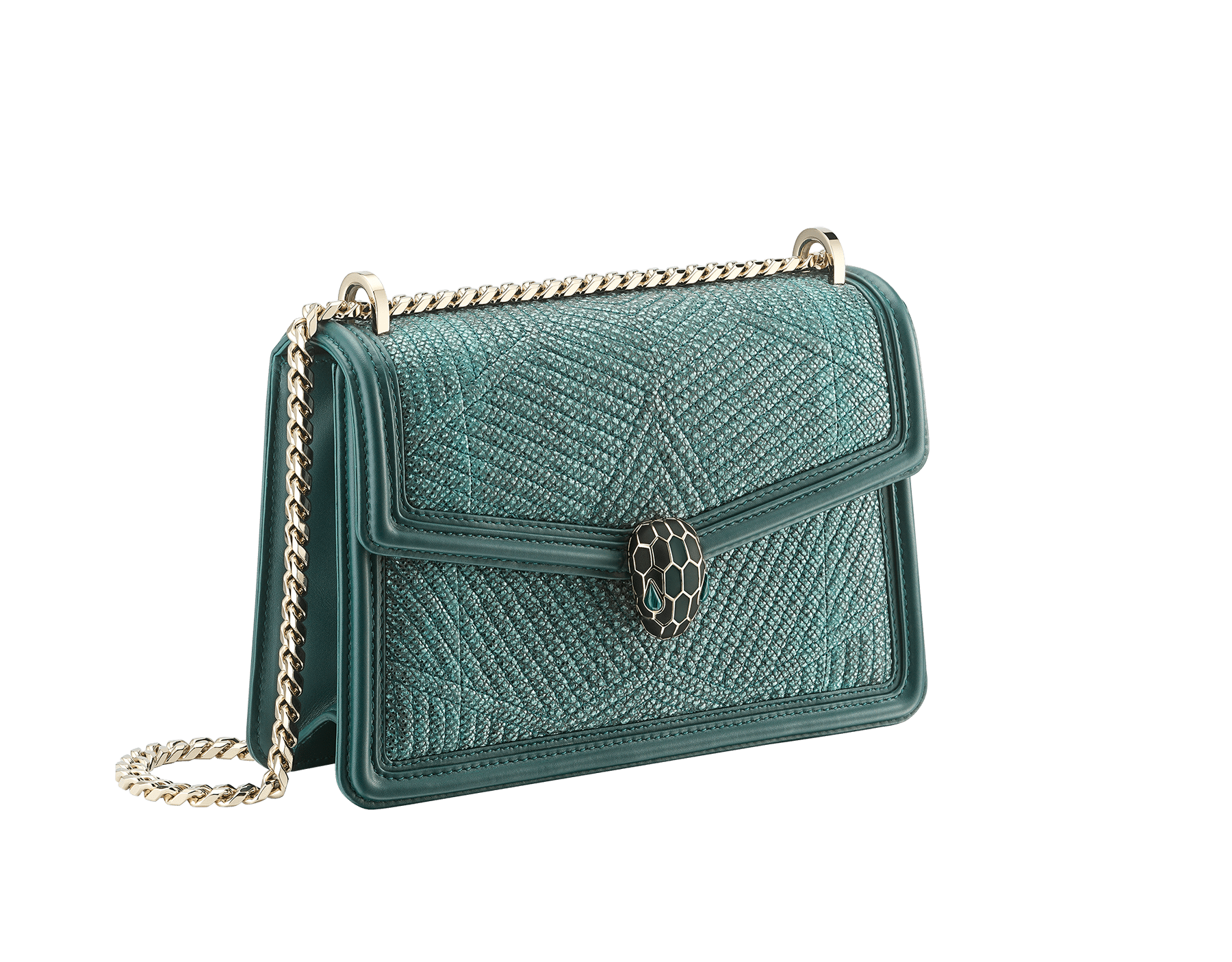 """Serpenti Diamond Blast"" shoulder bag in forest emerald quilted metallic karung skin and forest emerald calf leather frames. Iconic snakehead closure in light gold plated brass enriched with black and forest emerald enamel and green malachite eyes. Special Edition 289644 image 2"