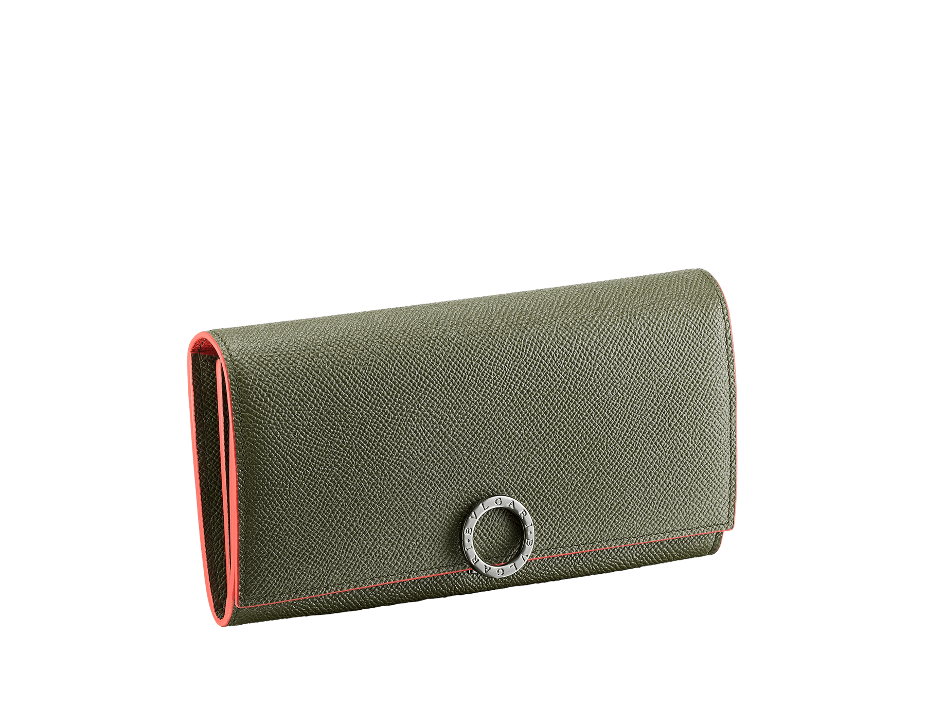 """""""BVLGARI BVLGARI"""" large wallet in mimetic jade and fire amber grain calf leather. Iconic logo clip closure in ruthenium plated brass. 289858 image 1"""