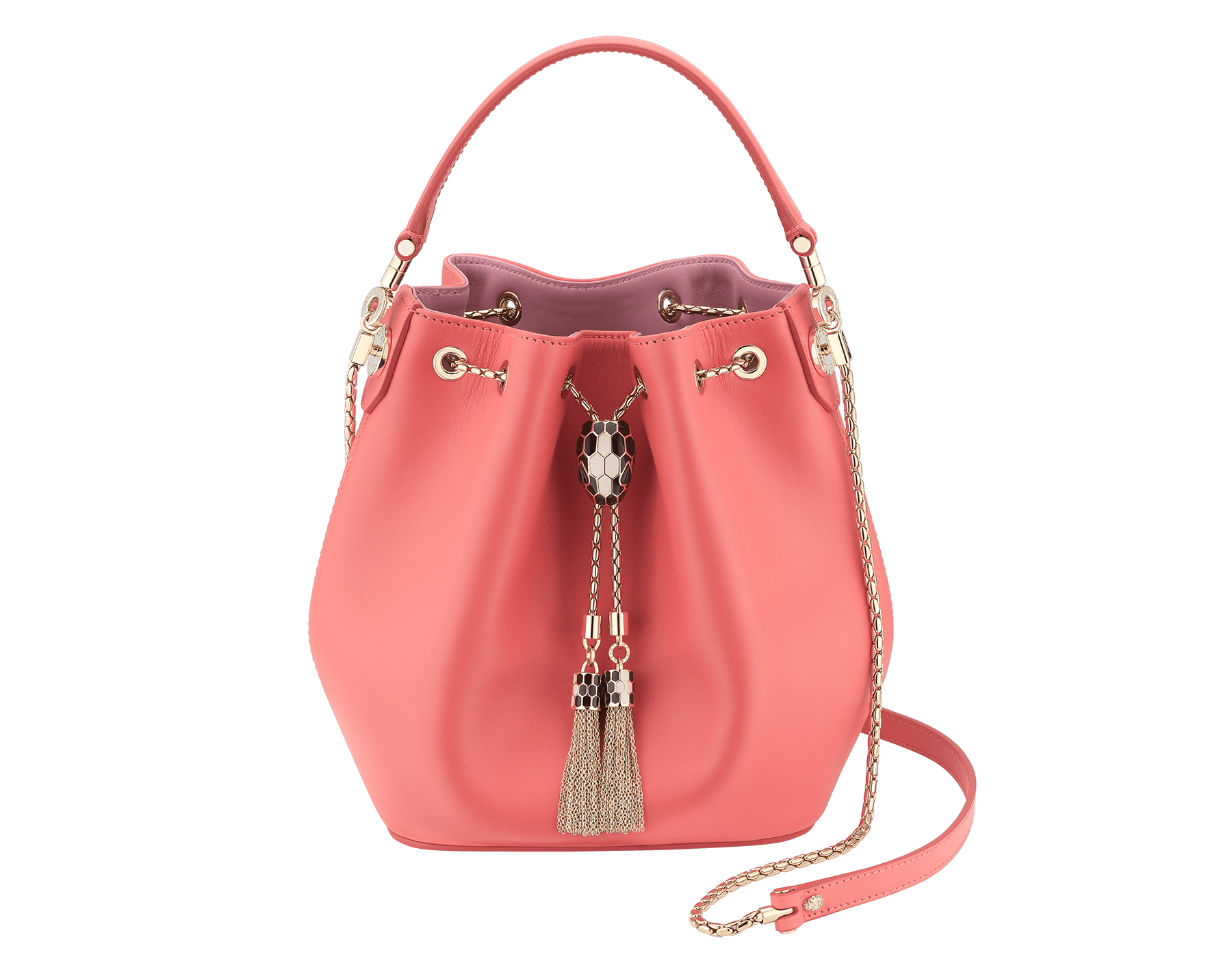 Serpenti Forever bucket in silky coral smooth calf leather and a flamingo quartz inner lining. Hardware in light gold plated brass and snakehead closure in black and white agate enamel, with eyes in black onyx. 288770 image 1