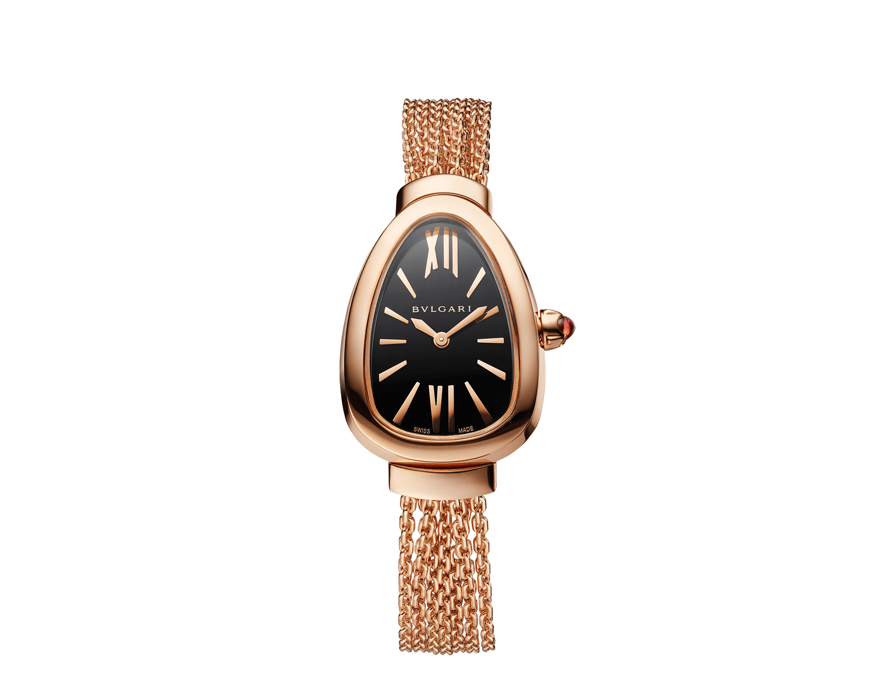 Serpenti watch in 18 kt rose gold case and interchangeable chain bracelet, with black lacquered dial 102728 image 1