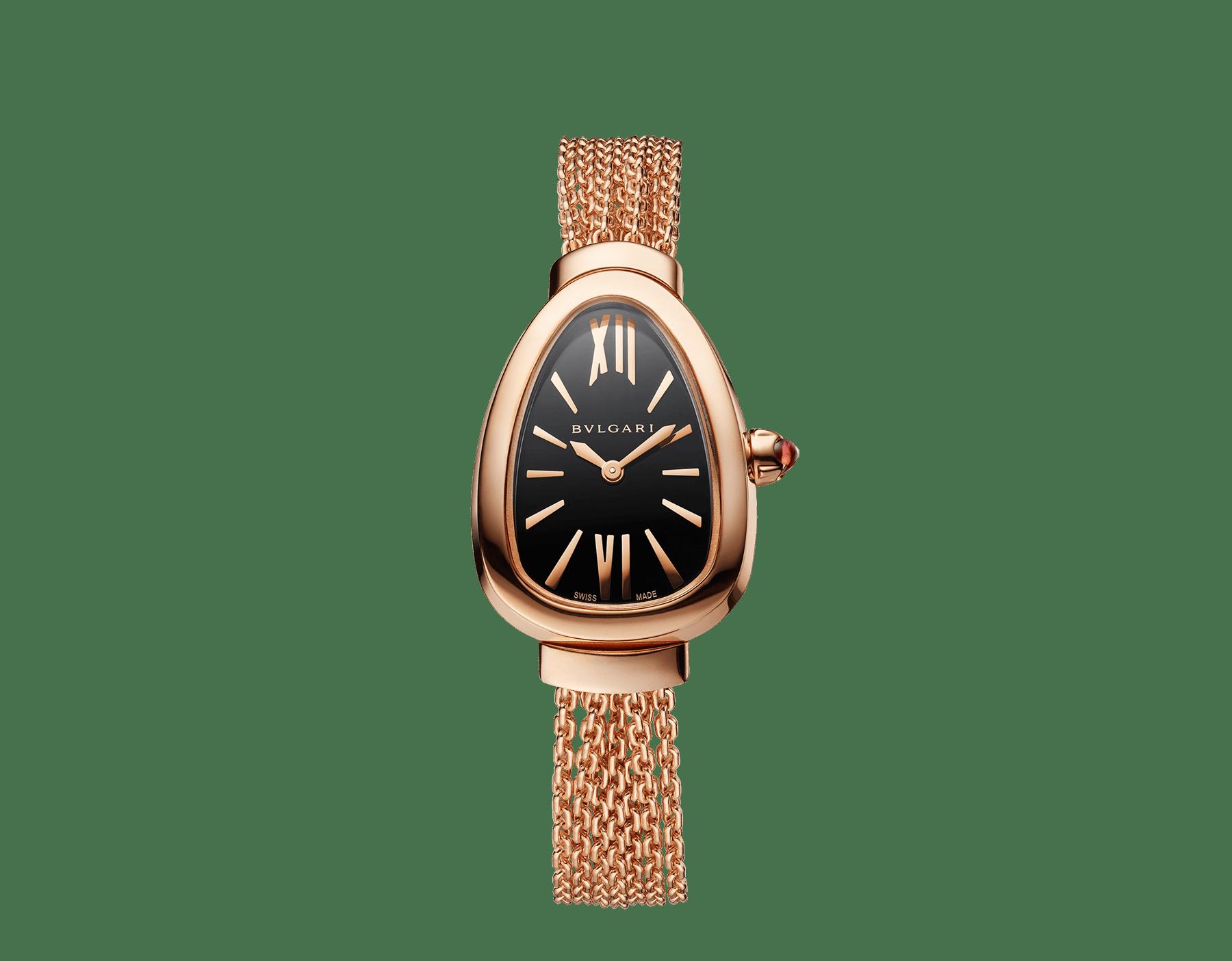 Serpenti Uhr mit Gehäuse und austauschbarem Kettenarmband aus 18Karat Roségold mit schwarz lackiertem Zifferblatt 102728 image 1