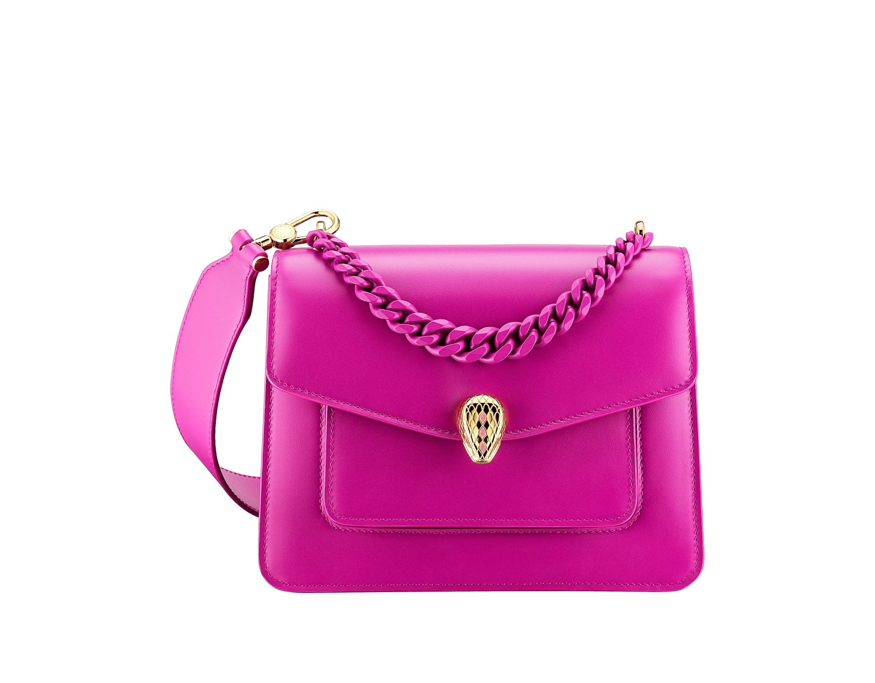 """Serpenti Forever"" small maxi chain crossbody bag in Magenta Spinel purple nappa leather, with Roman Garnet Bordeaux nappa leather inner lining. New Serpenti head closure in gold-plated brass, finished with small purple rhodonite scales in the middle and red enamel eyes. 1134-MCN image 1"