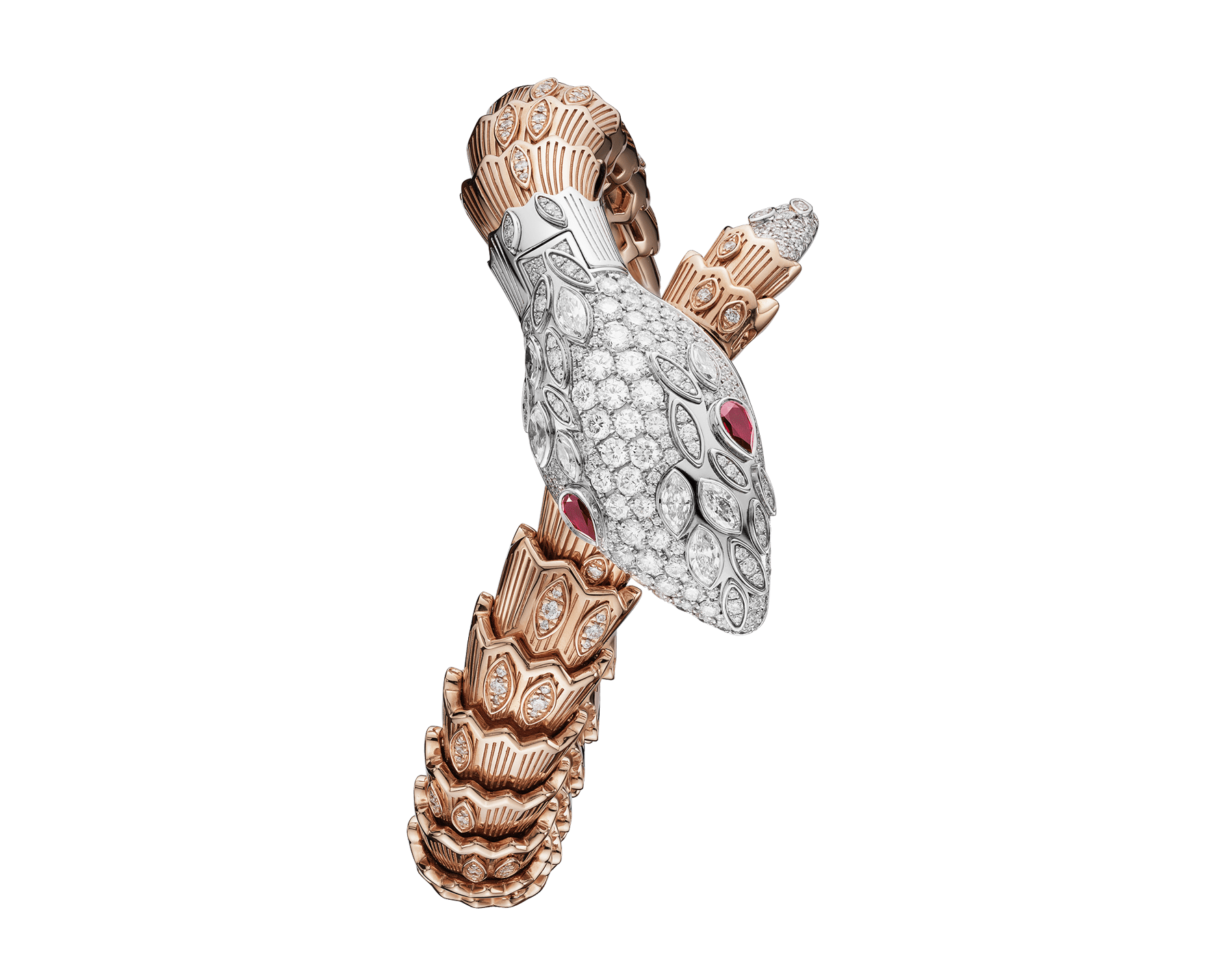 Serpenti Secret Watch with 18 kt white gold head set with brilliant cut and marquise cut diamonds and ruby eyes, 18 kt white gold case, 18 kt white gold dial set with brilliant cut diamonds, single spiral bracelet in 18 kt rose and white gold, set with brilliant cut diamonds. 102239 image 1