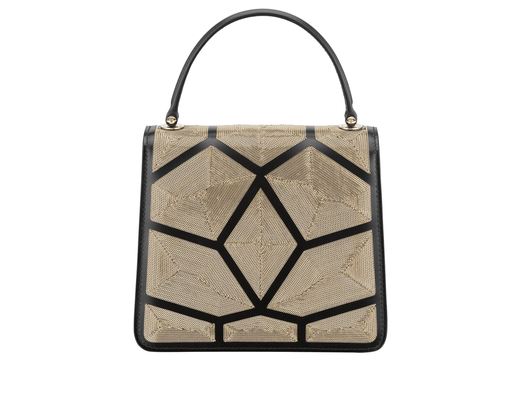 """Serpenti Forever"" crossbody bag in black calf leather and Million Chain motif body and black calf leather sides. Iconic snake head closure in light gold-plated brass enriched with black enamel and black onyx eyes. 752-CP image 3"