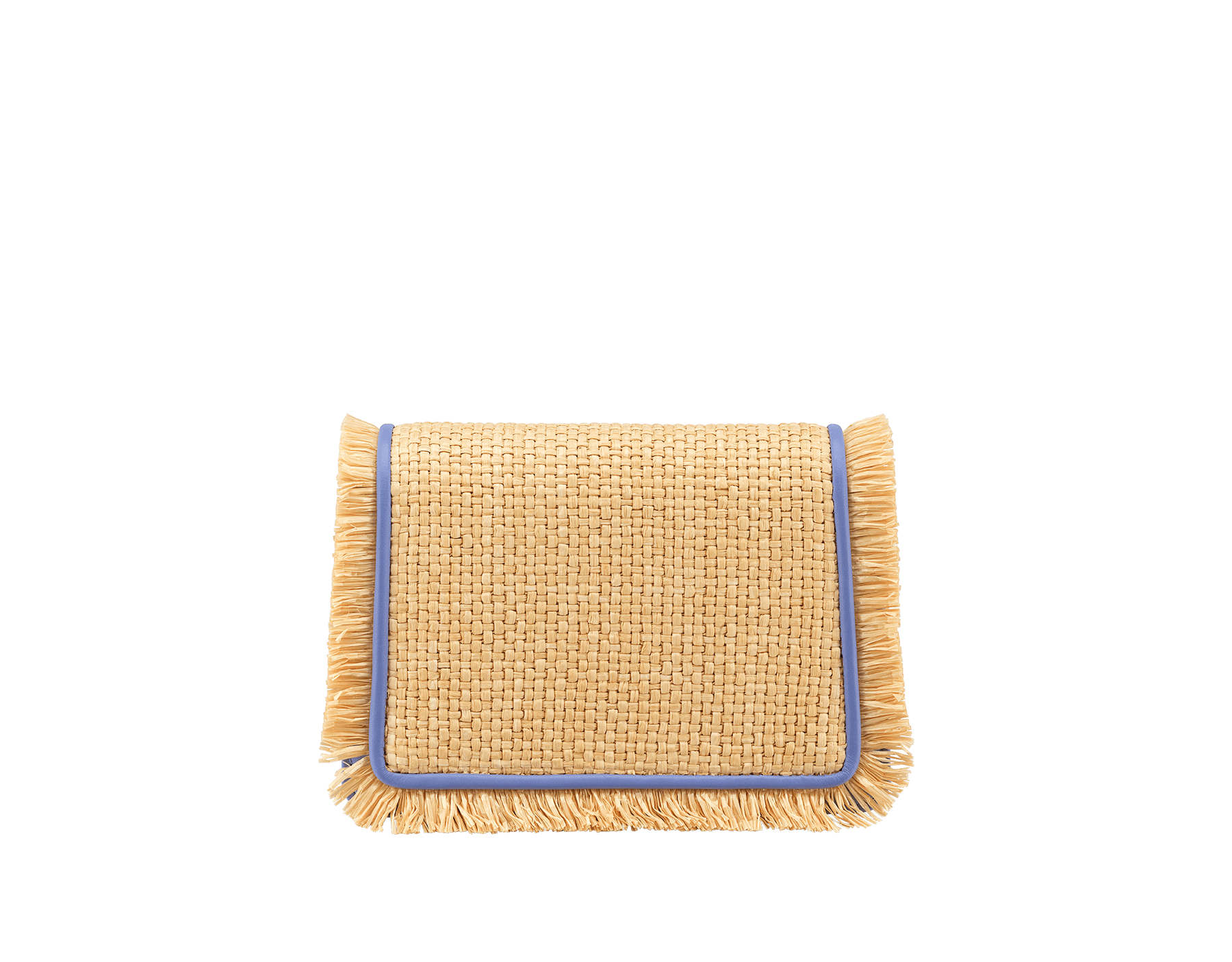 """Serpenti Diamond Blast"" crossbody mini bag in beige raffia body, Lavender Amethyst lilac calfskin frames, finished with beige raffia fringes and Lavender Amethyst lilac nappa leather internal lining. Alluring snakehead closure in light gold-plated brass enhanced with full matte Natural beige enamel and black onyx eyes. 290958 image 3"