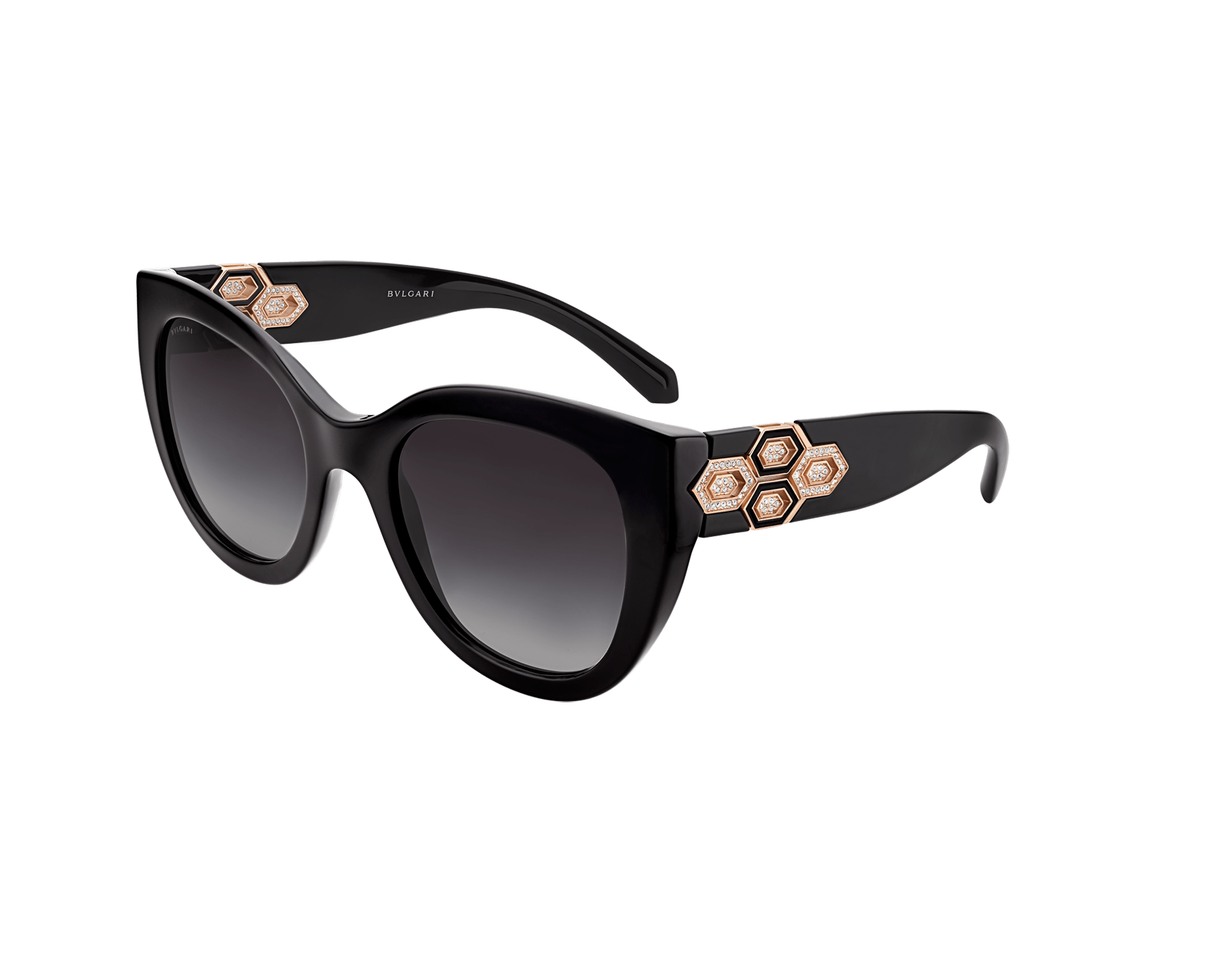 Bvlgari Serpenti squared bold acetate sunglasses with Serpenti metal décor and crystals. 903741 image 1