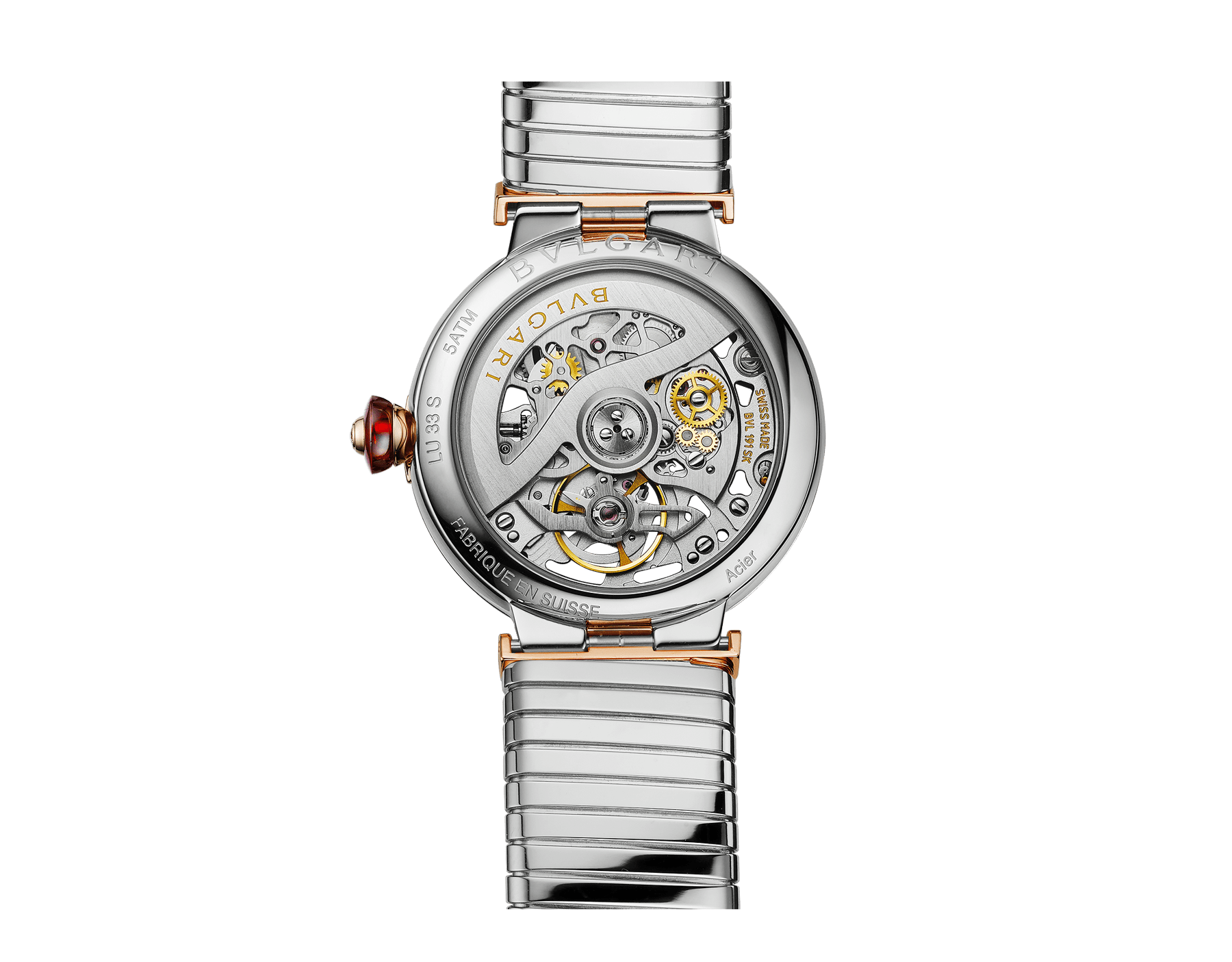 LVCEA Skeleton watch with mechanical movement, automatic winding, stainless steel case, 18 kt rose gold bezel with diamond detail, 18 kt rose gold openwork BVLGARI logo dial and links both set with round brilliant-cut diamonds, and stainless steel tubogas bracelet 103093 image 4