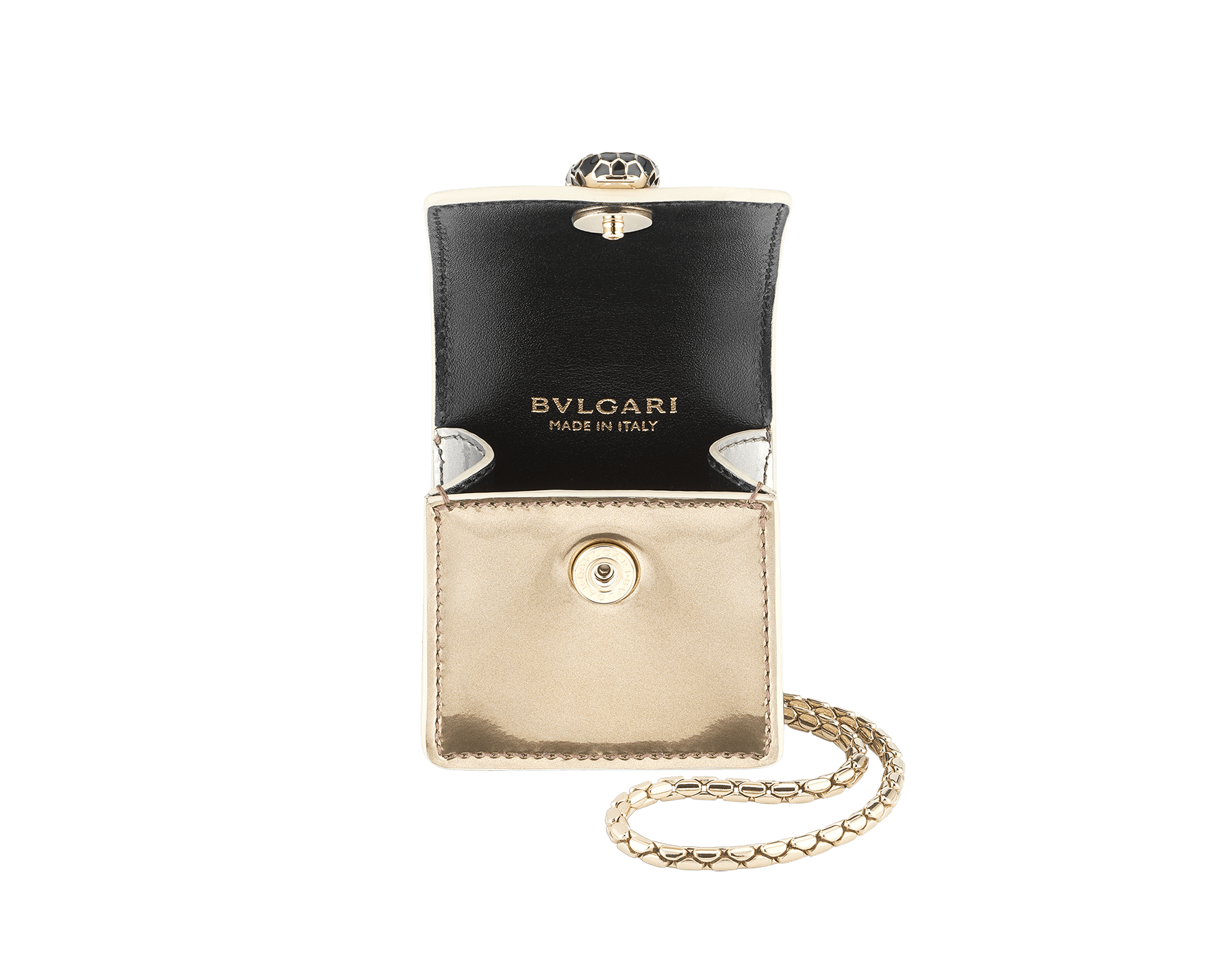 Serpenti Forever Holiday Season AirPods holder in antique bronze and silver brushed metallic calf leather. Snakehead closure in light gold plated brass embellished with black and glitter silver enamel, and black onyx eyes. 289489 image 2