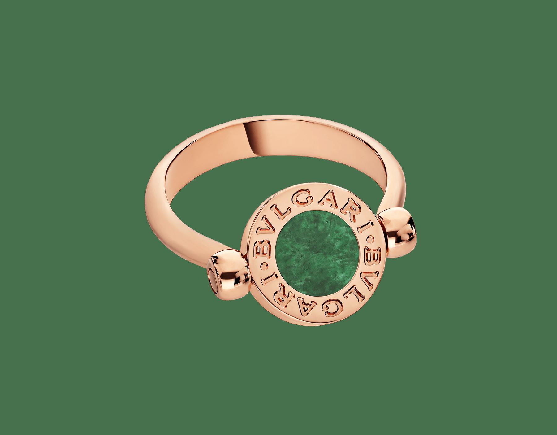 BVLGARI BVLGARI 18 kt rose gold flip ring set with green jade and pavé diamonds AN857356 image 2