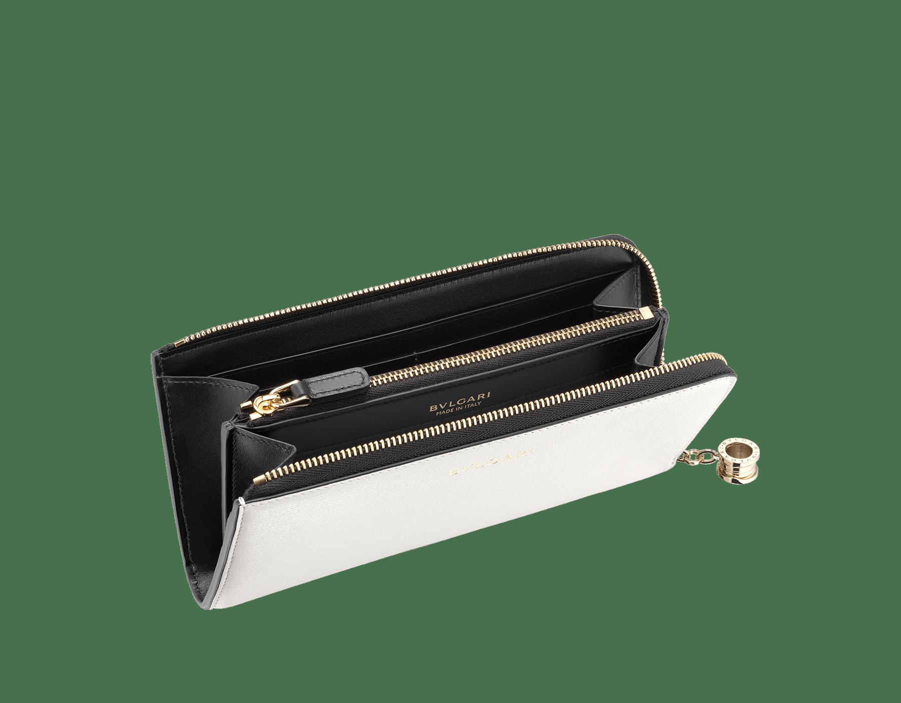 B.zero1 L-shaped zipped wallet in daisy topaz, taffy quartz goatskin and taffy quartz nappa. Iconic B.zero1 zip puller in light gold-plated brass. BZA-WLT-MZP-SLIM-L image 3