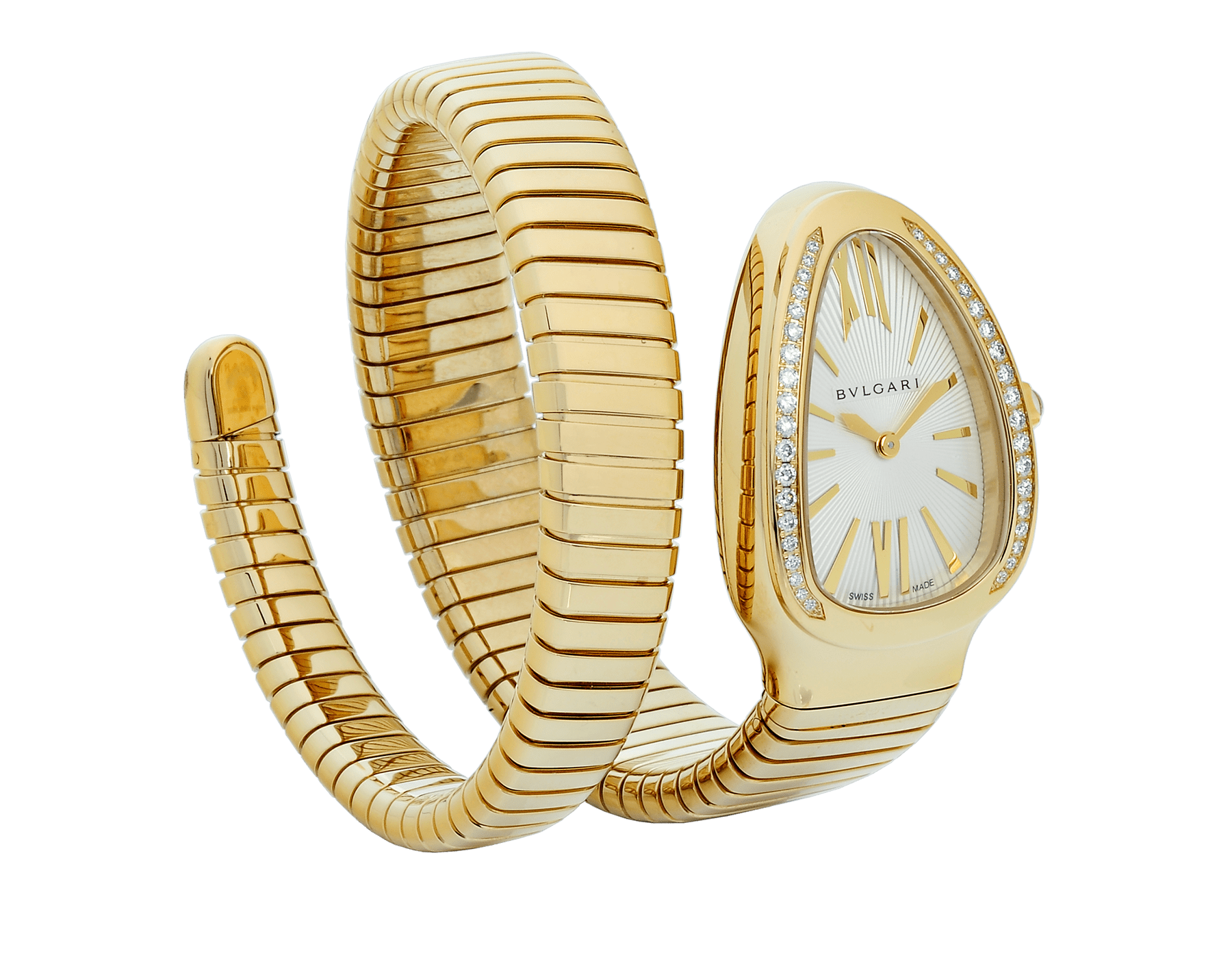 Serpenti Tubogas single spiral watch in 18 kt yellow gold case and bracelet, bezel set with brilliant cut diamonds and silver opaline dial. 101924 image 1