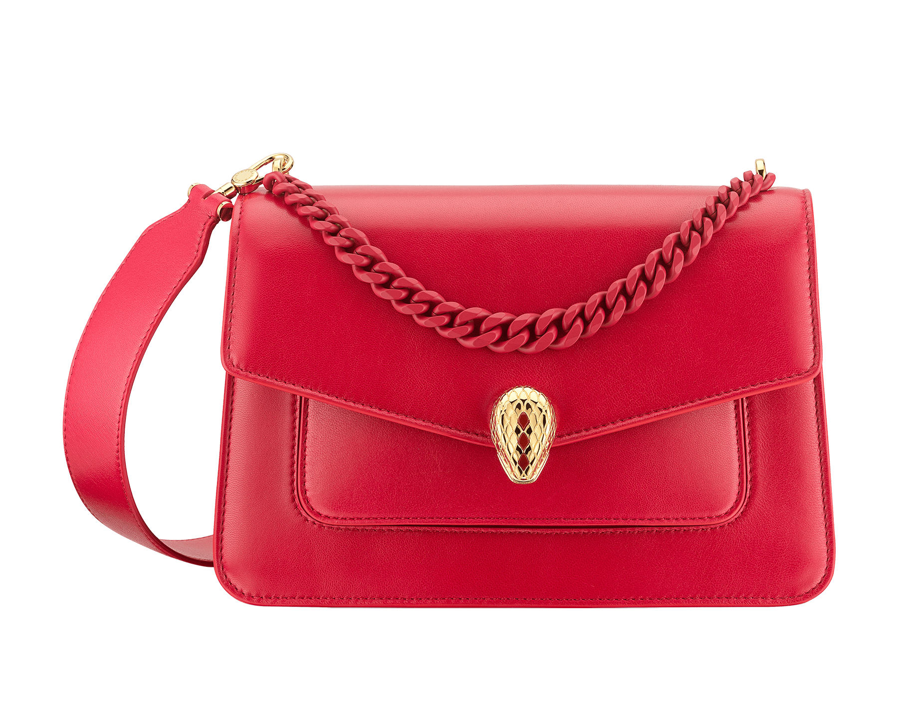 """Serpenti Forever"" maxi chain crossbody bag in Amaranth Garnet red nappa leather, with Pink Spinel fuchsia nappa leather internal lining. New Serpenti head closure in gold plated brass, finished with small red carnelian scales in the middle and red enamel eyes. 1138-MCN image 1"