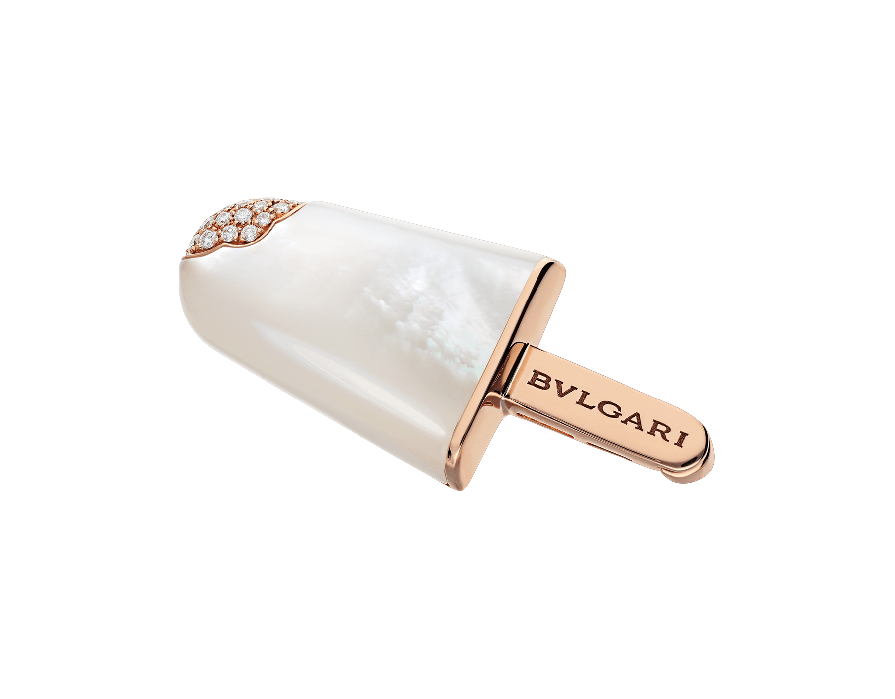 BVLGARI BVLGARI Gelati 18 kt rose gold brooch set with mother-of-pearl and pavé diamonds 355278 image 1