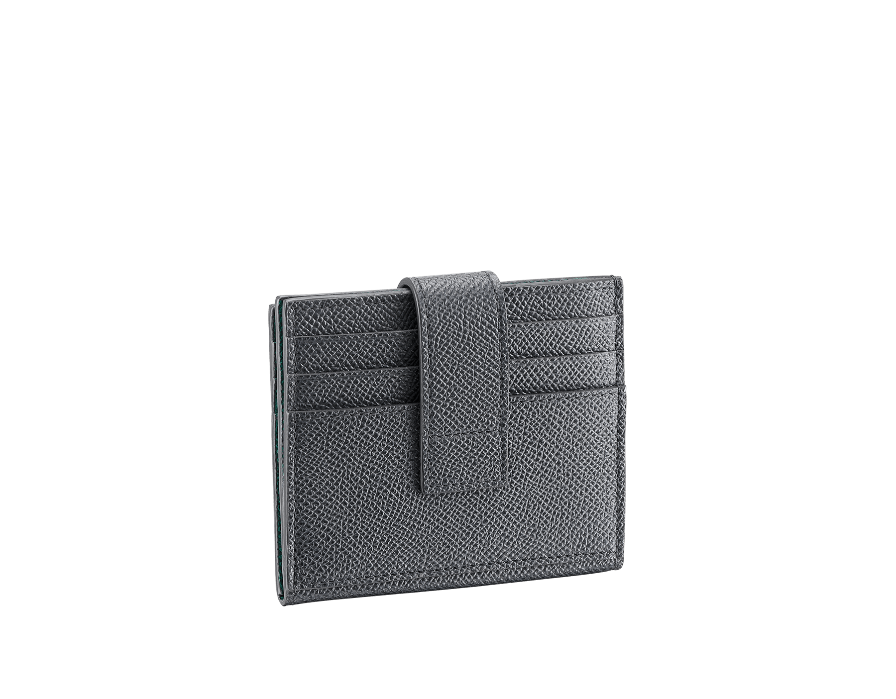 BVLGARI BVLGARI folded credit card holder in black grain calf leather. Iconic logo decoration in palladium-plated brass. BBM-12CCHOLDER image 3