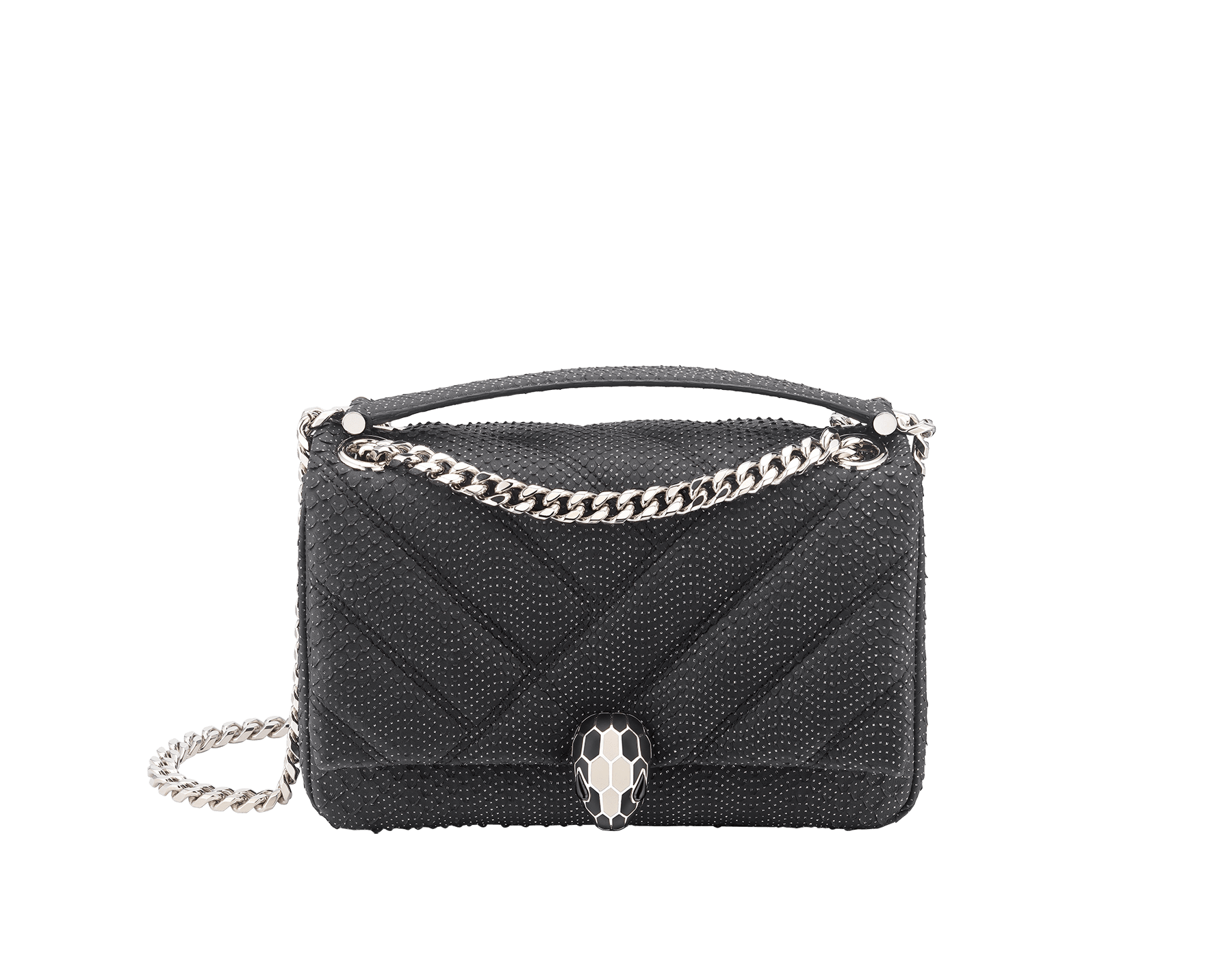 Serpenti Cabochon shoulder bag in soft matelassé black and white fil coupé python skin with graphic motif. Snakehead closure in palladium plated brass decorated with matte black and white enamel, and black onyx eyes. 288614 image 1