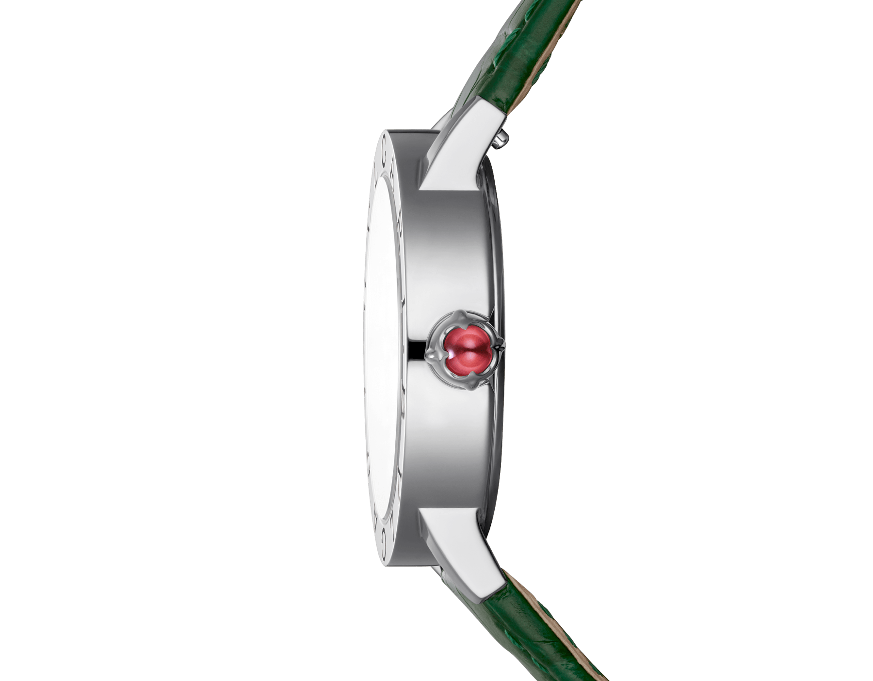 BVLGARI BVLGARI watch with stainless steel case, white mother-of-pearl dial, diamond indexes and shiny green alligator bracelet 102746 image 3