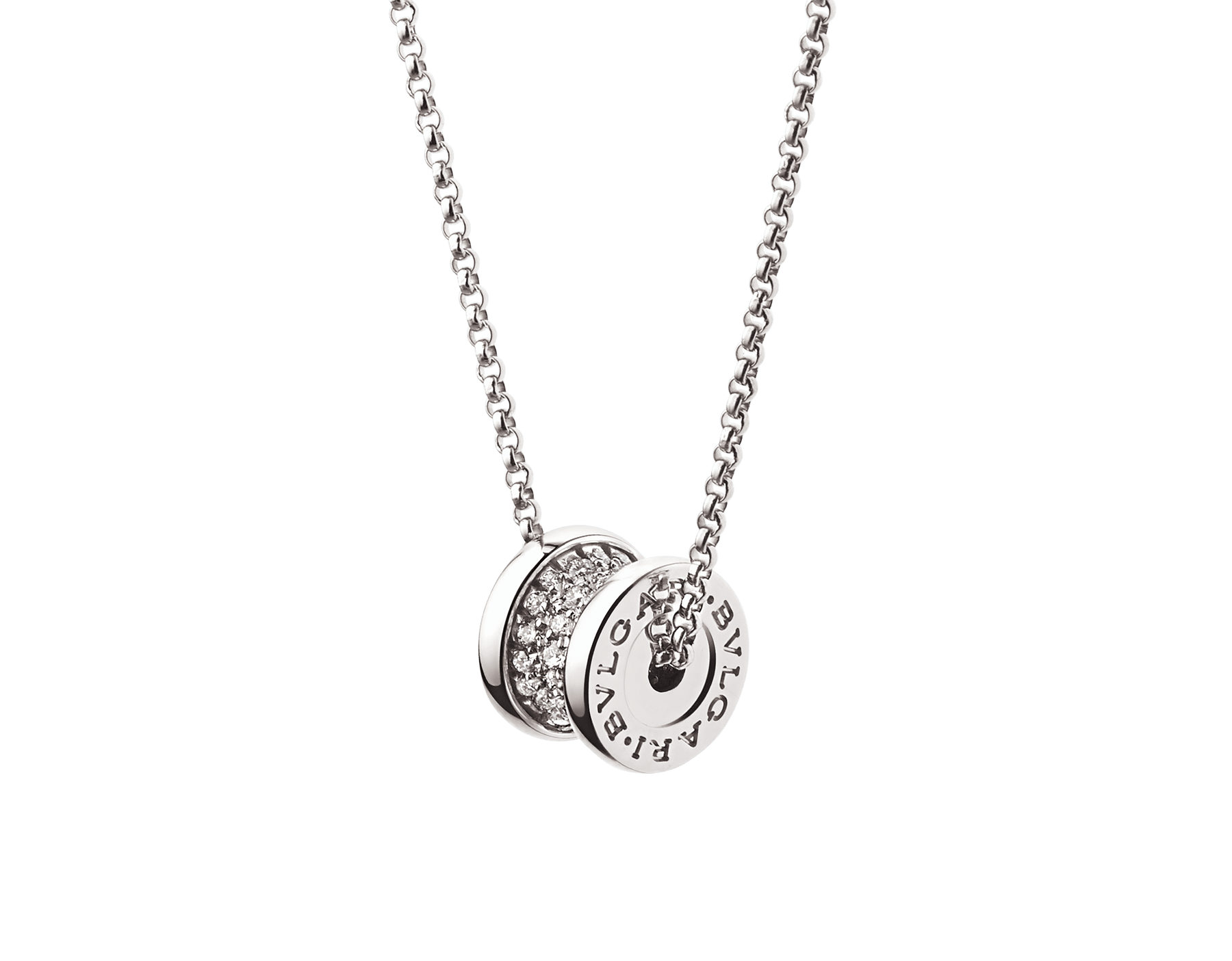 B.zero1 18 kt white gold necklace with round pendant in 18 kt white gold, set with pavé diamonds on the spiral. 351117 image 1