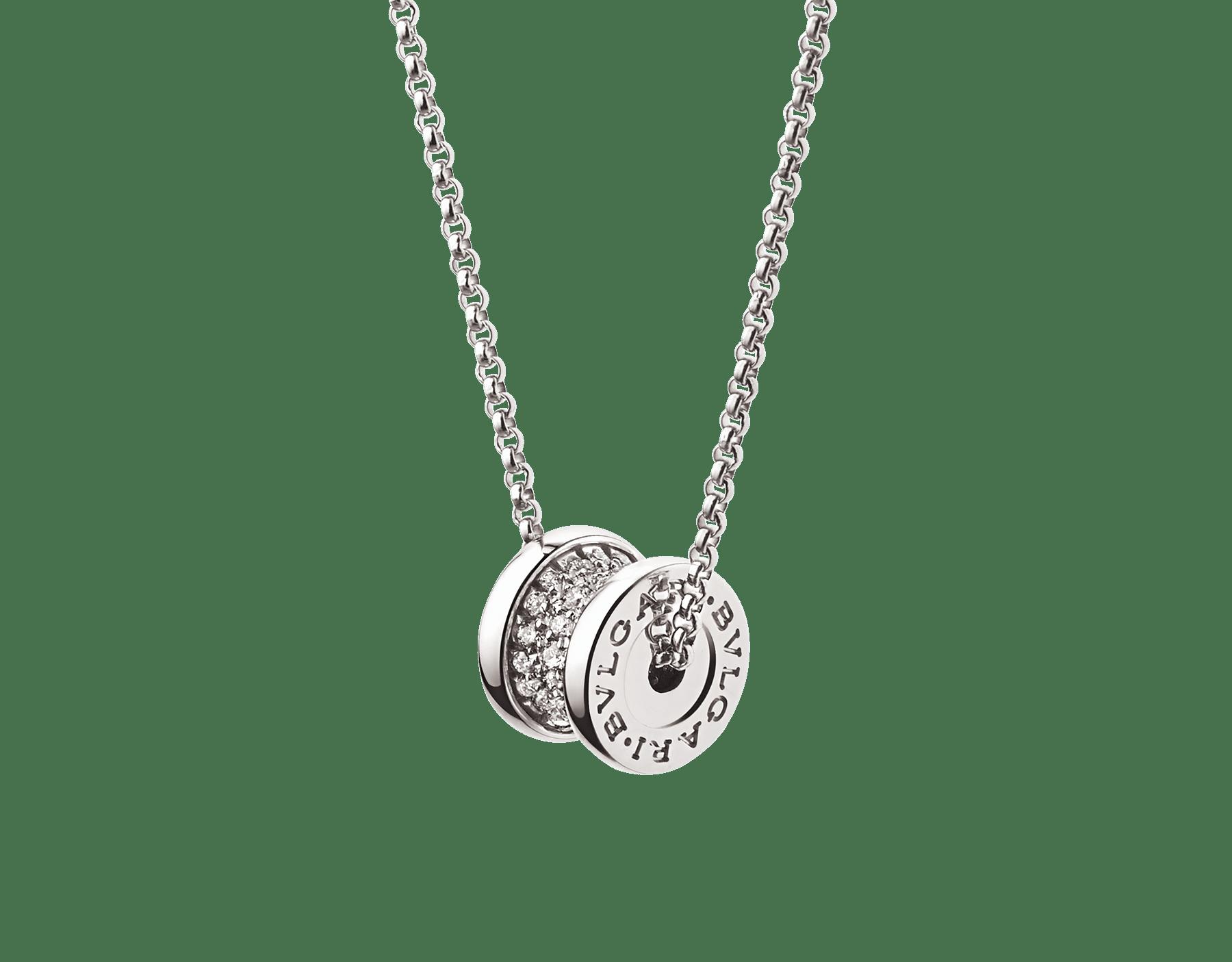 高貴なパヴェダイヤモンドをあしらった象徴的な螺旋(らせん)にホワイトゴールド製チェーンを通したビー・ゼロワン ネックレス。その独特のデザインは、現代的なエレガンスと融合します。 351117 image 1