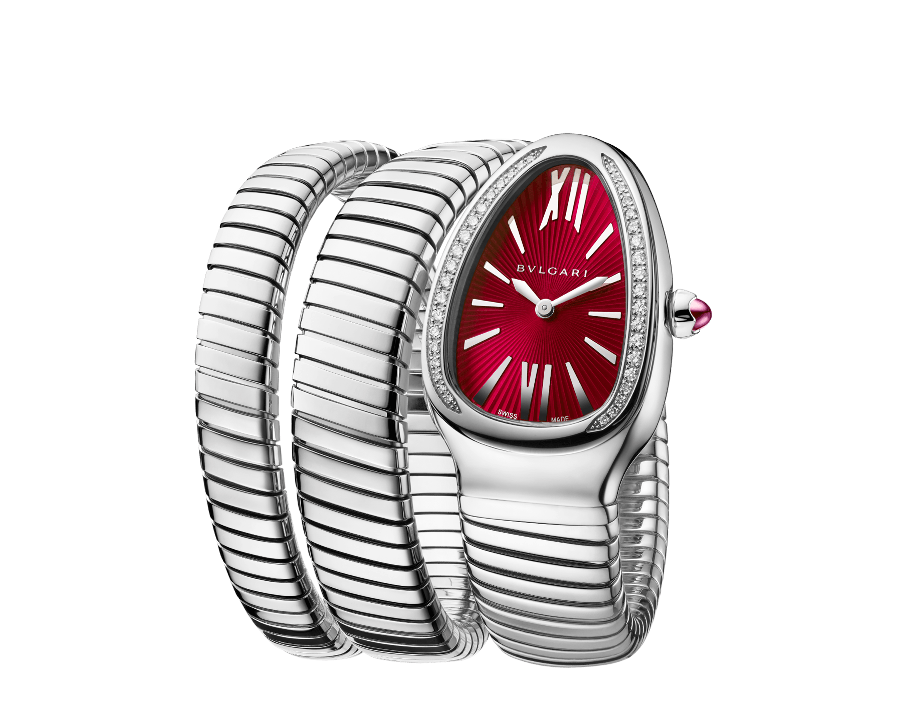 Serpenti Tubogas double spiral watch with stainless steel case set with brilliant cut diamonds, red lacquered dial and stainless steel bracelet. 102682 image 2