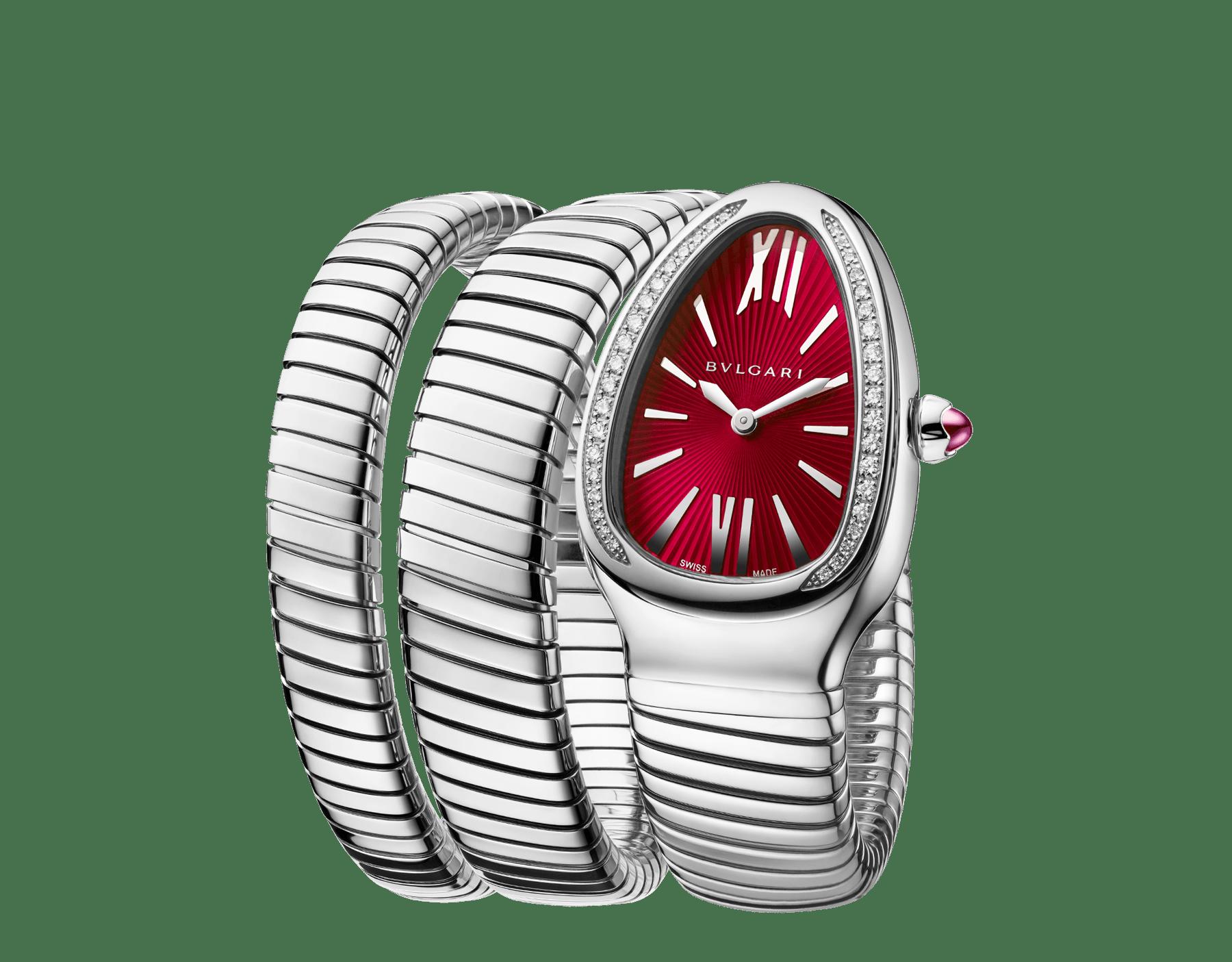 Montre Serpenti Tubogas avec boîtier en acier inoxydable serti de diamants taille brillant, cadran laqué rouge et bracelet double spirale en acier inoxydable. 102682 image 2