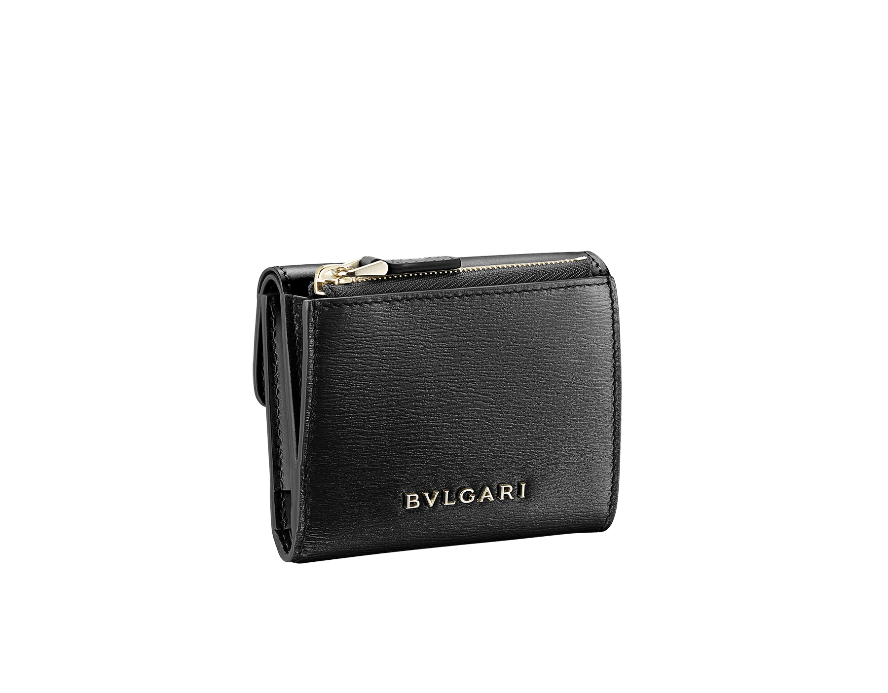 """Serpenti Forever"" slim compact wallet in black calf leather and black goatskin. Iconic light gold plated brass snakehead stud closure in black enamel, with black onyx eyes. 290317 image 3"