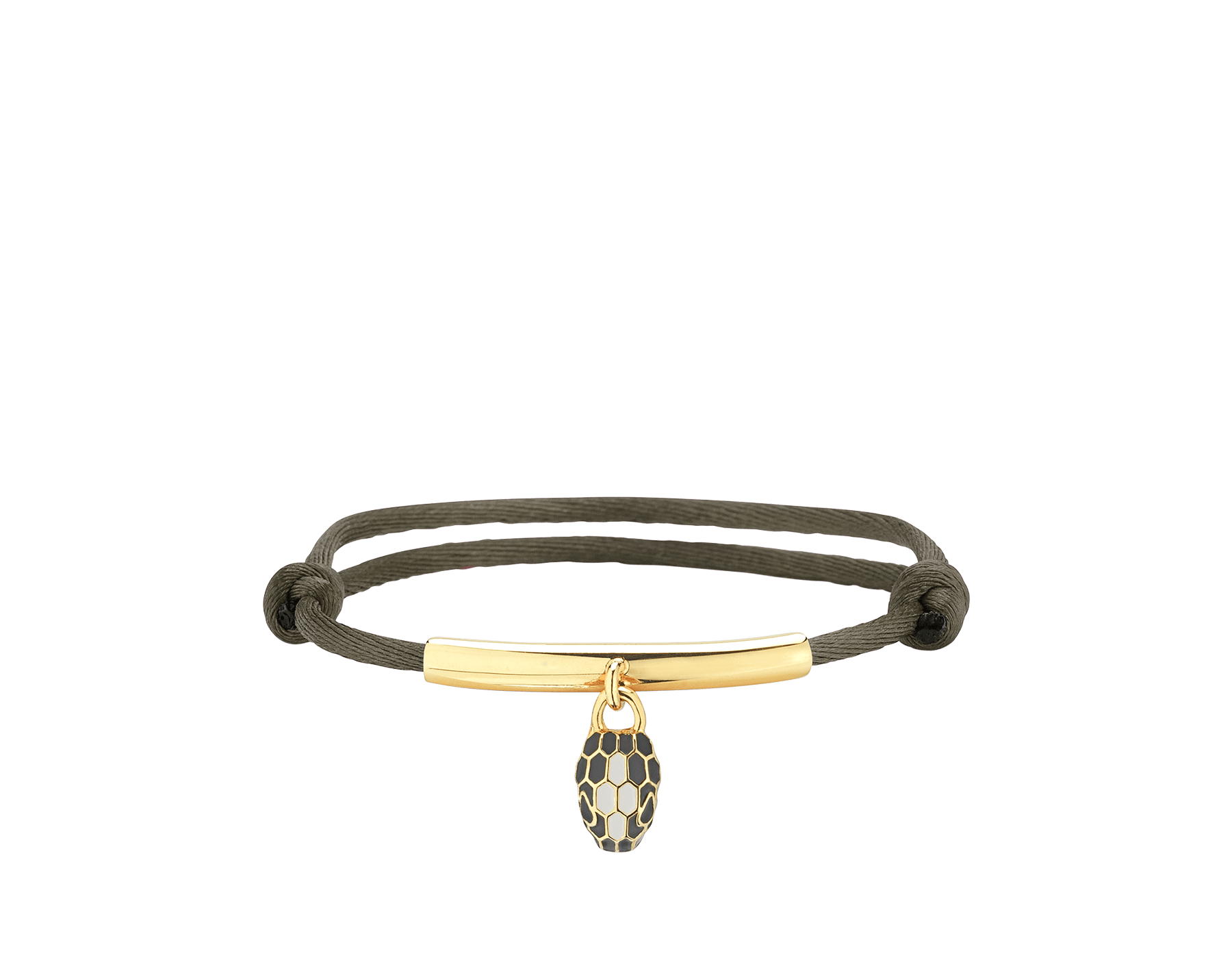 """Serpenti Forever"" bracelet in daisy topaz silk with a palladium plated brass plate and an iconic snakehead charm in black and white agate enamel and black enamel eyes. SERP-MINISTRING image 1"