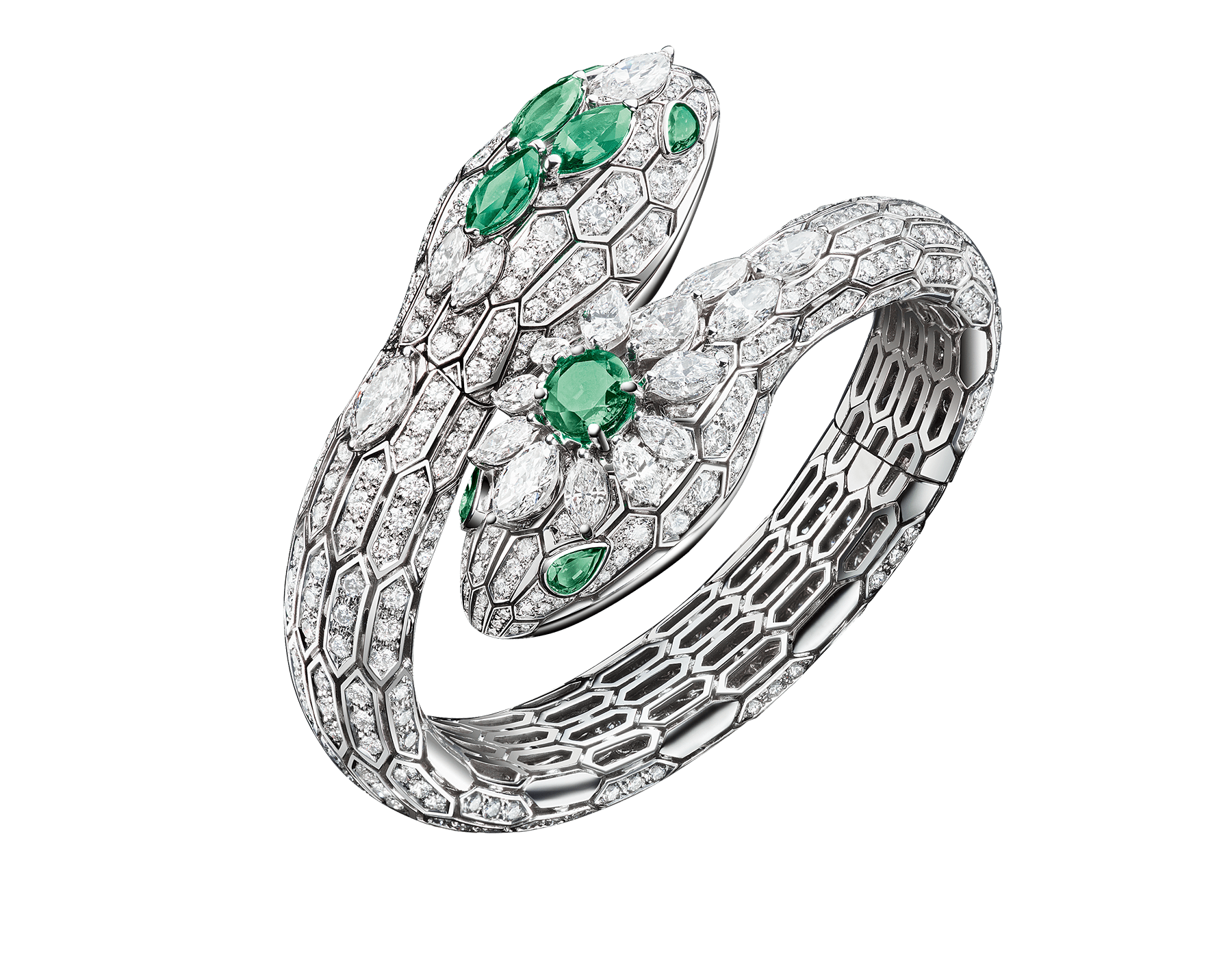 Serpenti two-headed watch with 18 kt white gold heads set with brilliant cut and marquise cut diamonds, marquise cut and one round cut emeralds, 18 kt white gold case, dial and bracelet, all set with brilliant cut diamonds. 102784 image 1