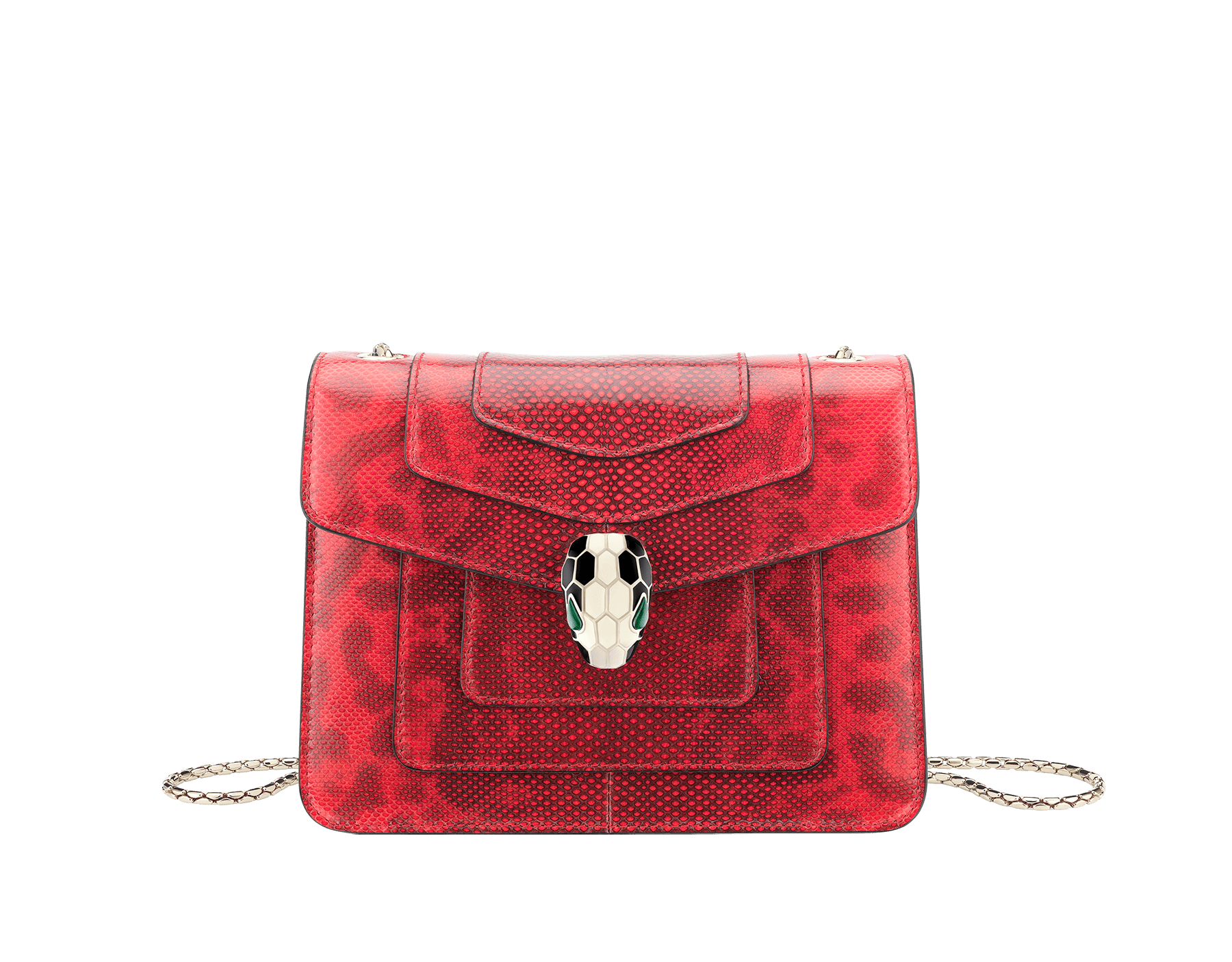 Serpenti Forever crossbody bag in sea star coral shiny karung skin. Snakehead closure in light gold plated brass decorated with black and white enamel, and green malachite eyes. 287911 image 1