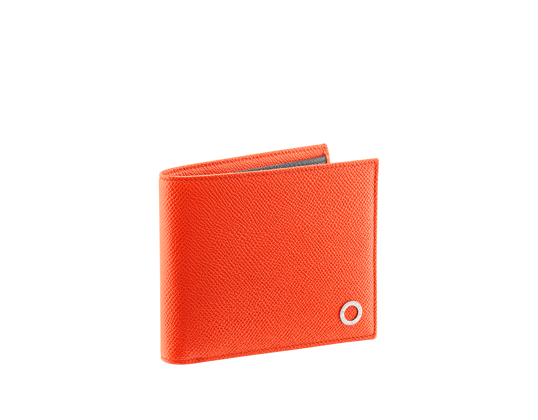 BVLGARI BVLGARI hipster wallet for men in fire amber and charcoal diamond grain calf leather. Iconic logo decoration in palladium-plated brass. 289110 image 1