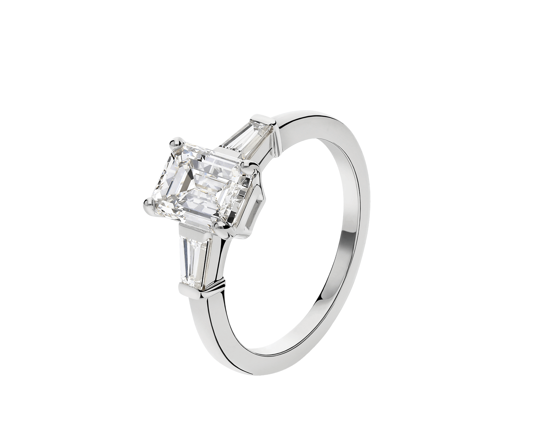 Griffe solitaire ring in platinum with one emerald cut diamond and two side diamonds 331649 image 1