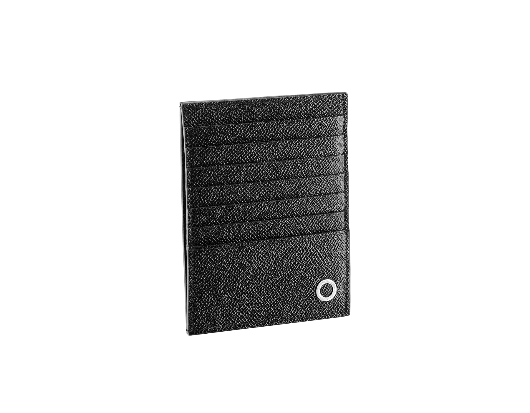 BVLGARI BVLGARI credit card and coins holder in black grain calf leather. Iconic logo décor in palladium plated brass. 289391 image 1