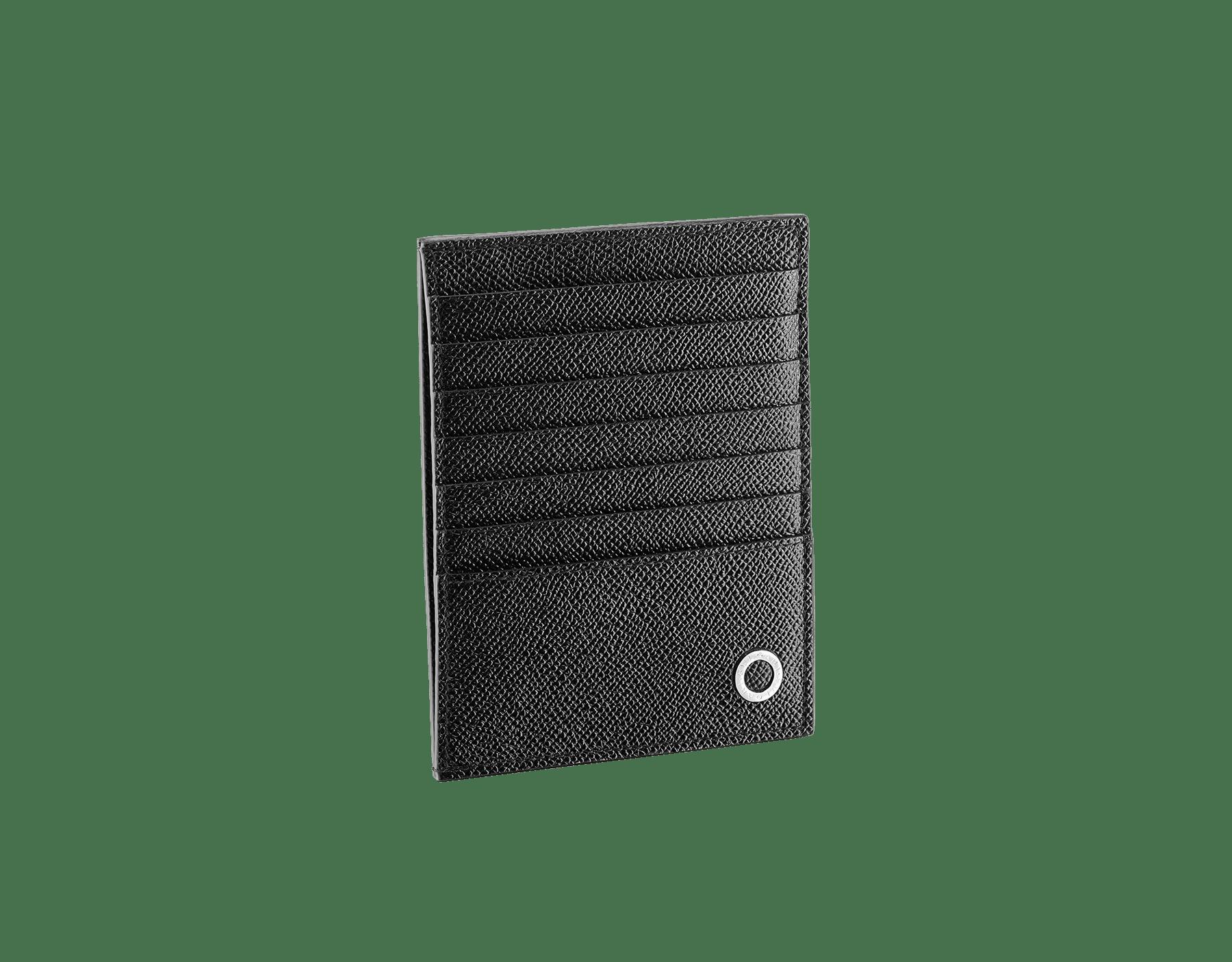 ブラックのグレインカーフレザー製「ブルガリ・ブルガリ」クレジットカードおよびコインホルダー。ブラスパラジウムプレートのアイコニックなロゴの装飾。 289391 image 1