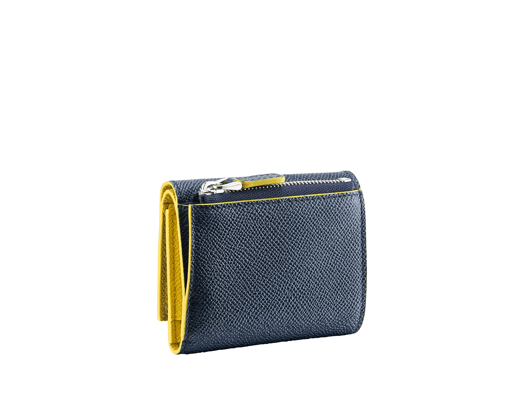 BVLGARI BVLGARI slim compact wallet in denim sapphire and daisy topaz grain calf leather. Iconic logo closure clip in palladium-plated brass. BCM-SLIMCOMPACTb image 3
