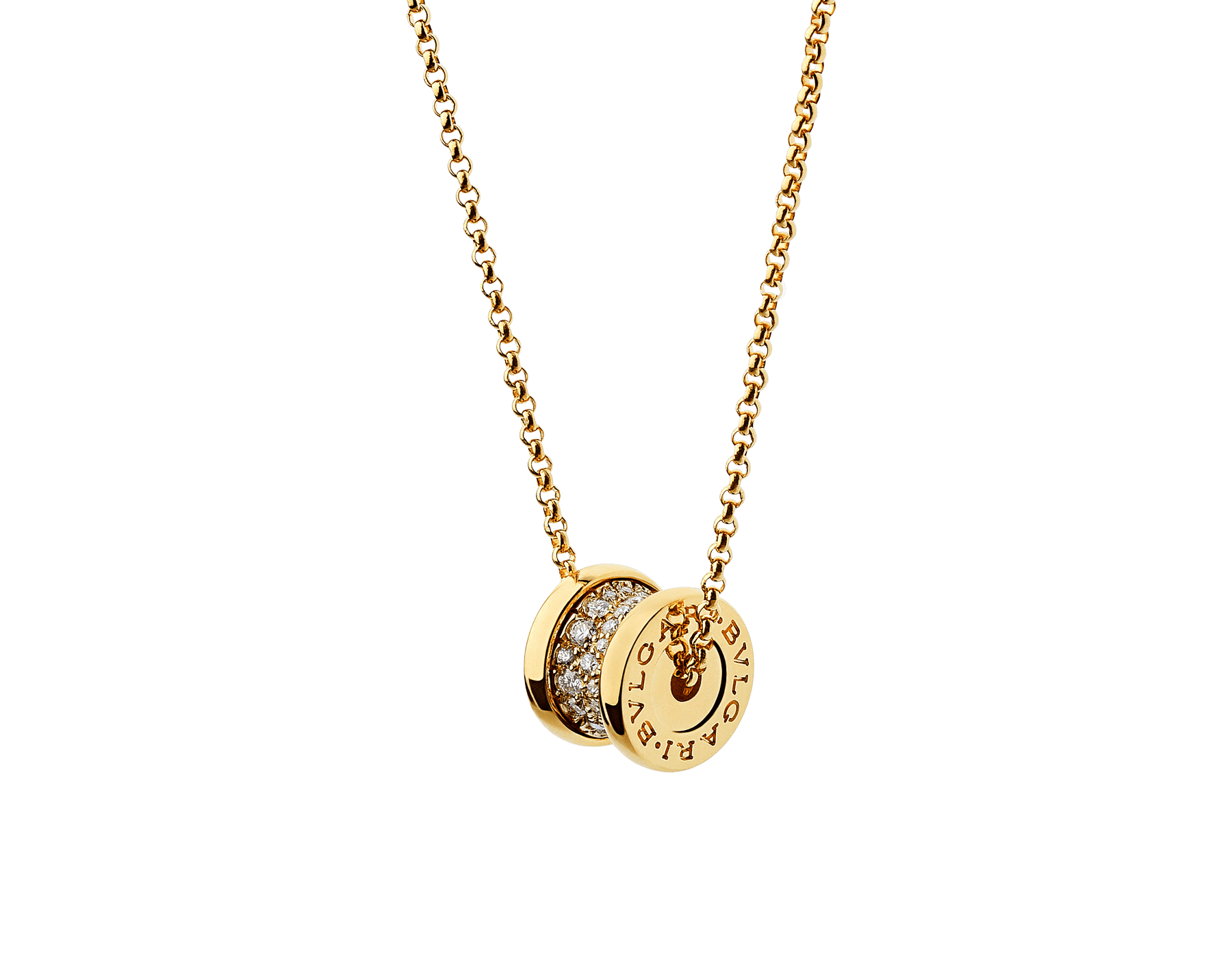 B.zero1 18 kt yellow gold necklace set with pavé diamonds on the spiral 357496 image 3