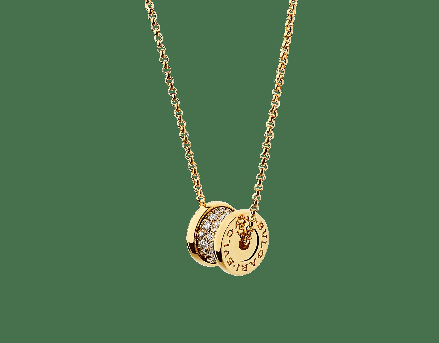 Collier B.zero1 en or jaune 18K avec pavé diamants sur la spirale 357496 image 3