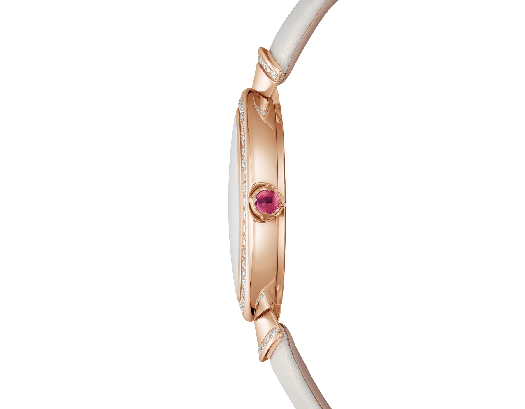 DIVAS' DREAM watch with 18 kt rose gold case set with brilliant-cut diamonds, natural acetate dial, diamond indexes and white satin bracelet 102433 image 3