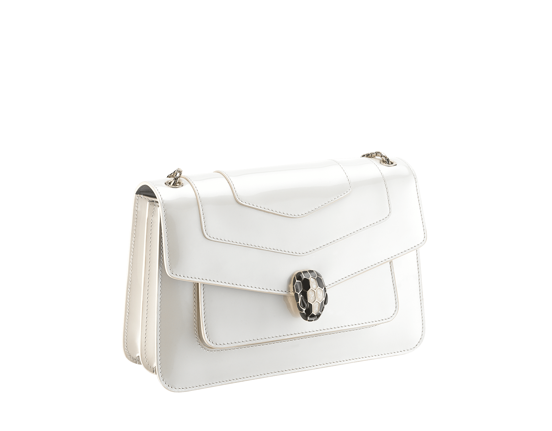 """Serpenti Forever"" crossbody bag in white agate calf leather with a varnished and pearled effect. Iconic snakehead closure in light gold plated brass enriched with black and pearled white agate enamel and black onyx eyes. 290273 image 2"