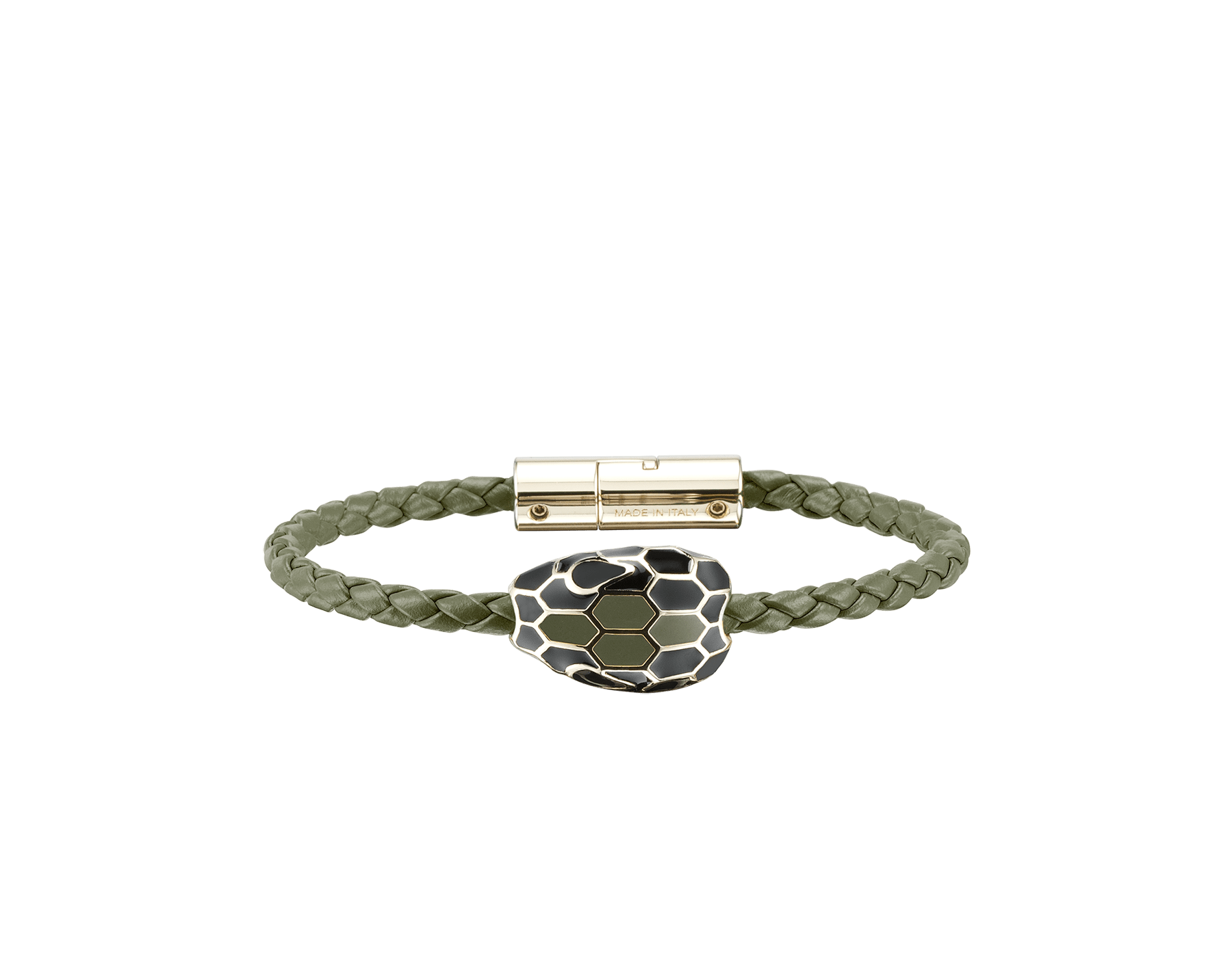 Serpenti Forever braid bracelet in mimetic jade woven calf leather with the iconic snakehead décor in black and mimetic jade enamel with seductive black enamel eyes. SerpBraid-WCL-MJ image 1