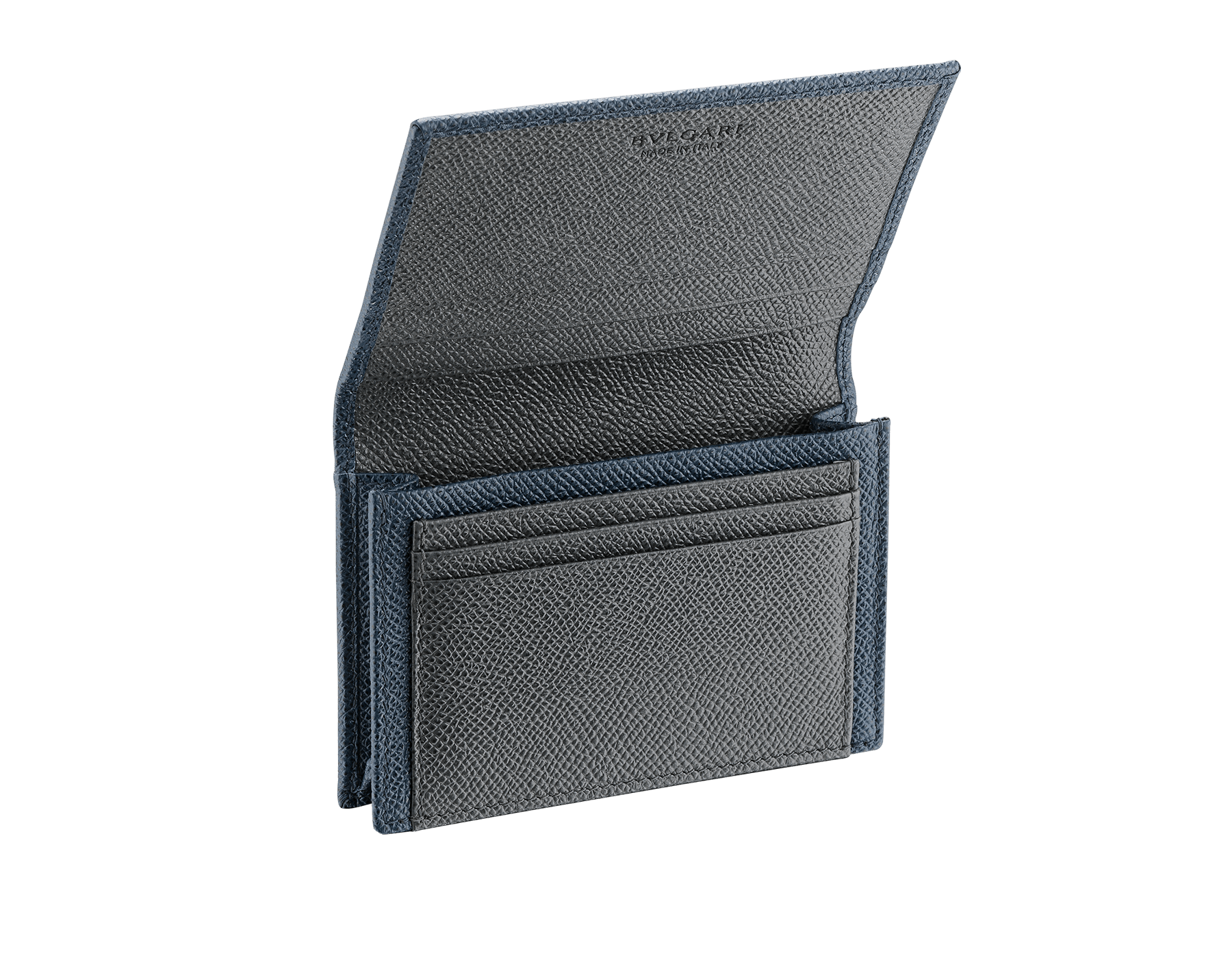 BVLGARI BVLGARI business card holder in denim sapphire and charcoal diamond grain calf leather, with brass palladium plated logo decoration. 289116 image 2