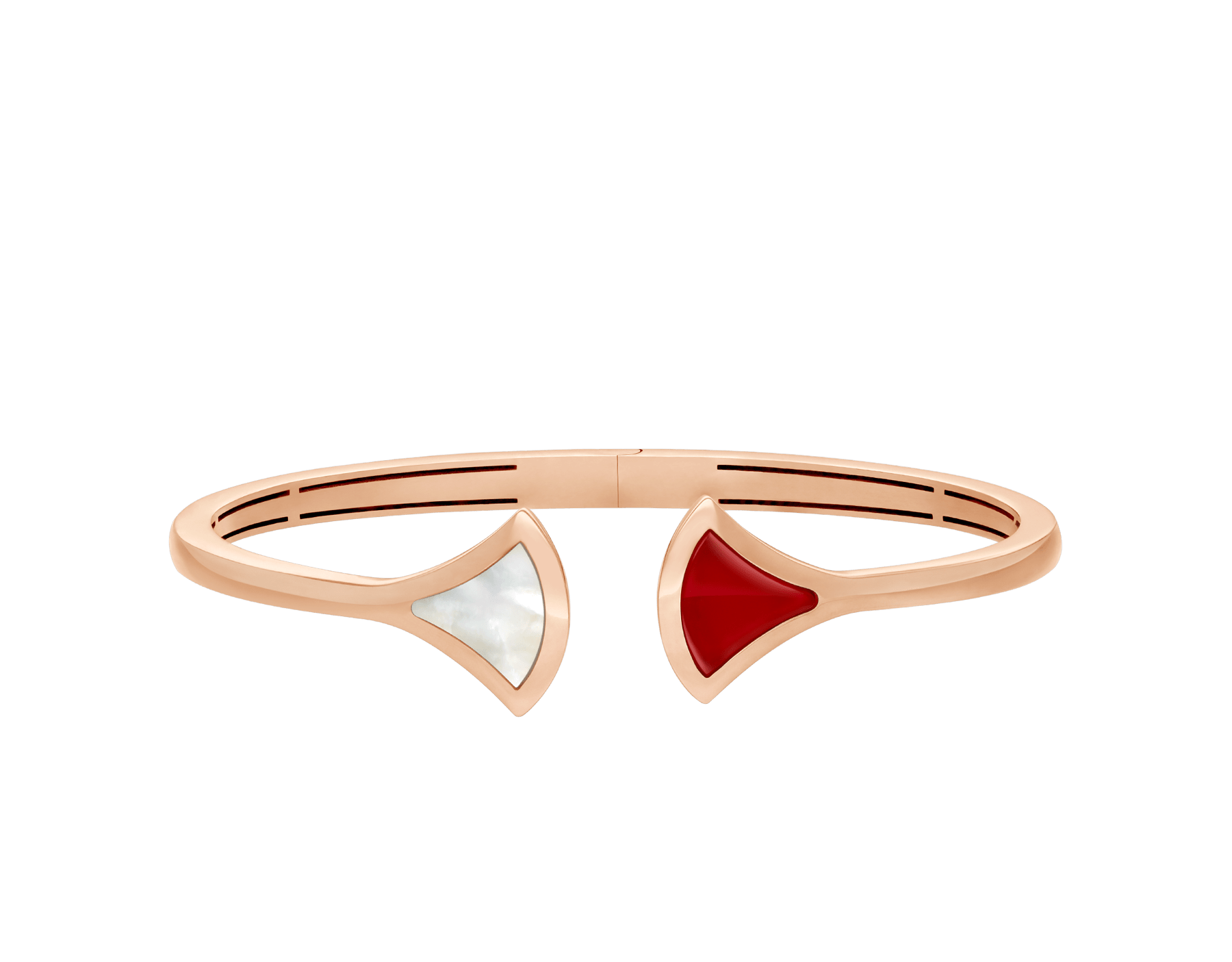 DIVAS' DREAM 18 kt rose gold bangle bracelet set with mother-of-pearl and carnelian elements BR858678 image 2