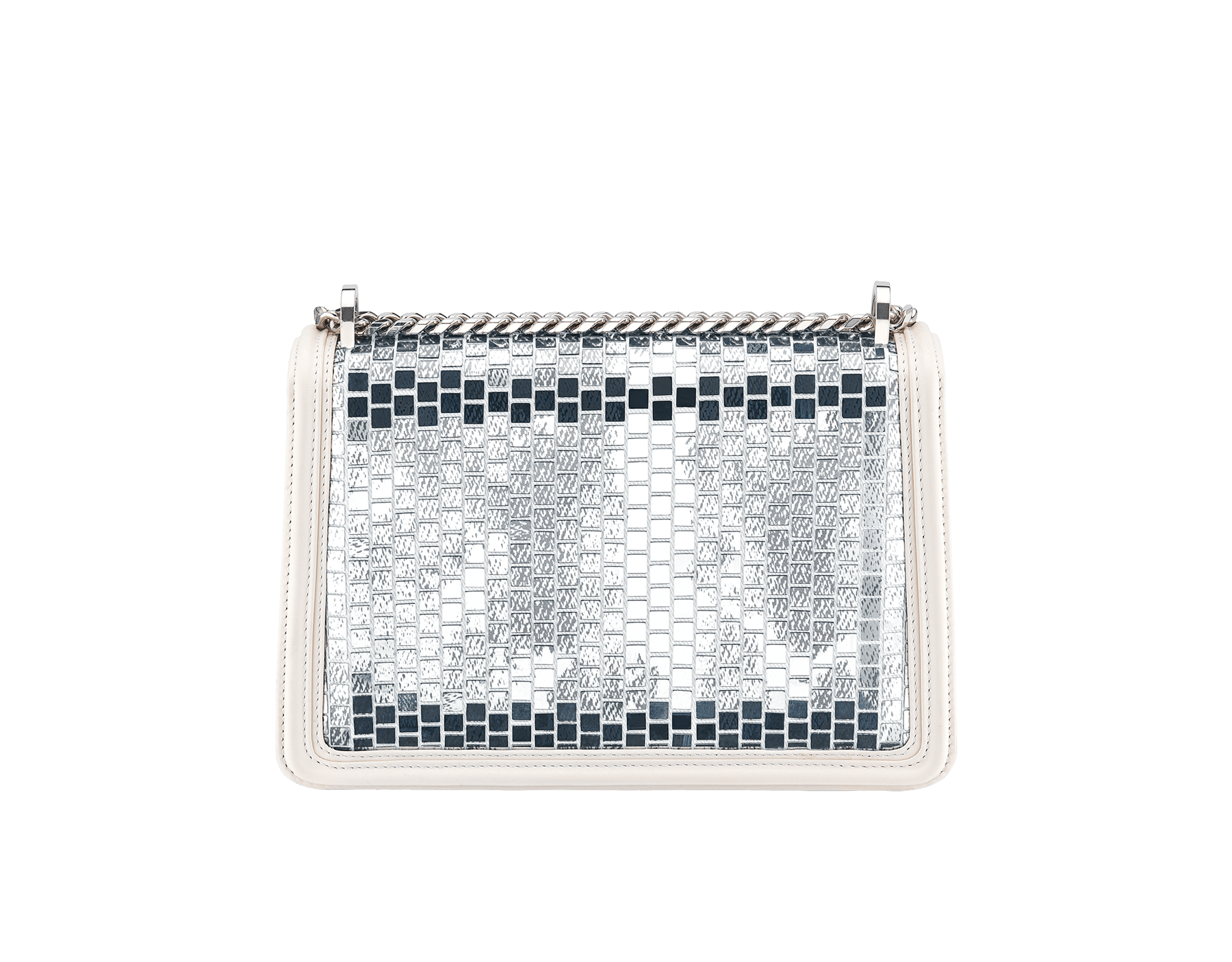 """""""Serpenti Diamond Blast"""" shoulder bag in white agate """"Mosaic Canvas"""" calf leather. Iconic snake head closure in palladium plated brass enriched with matte black and shiny white enamel and black onyx eyes. 289881 image 2"""