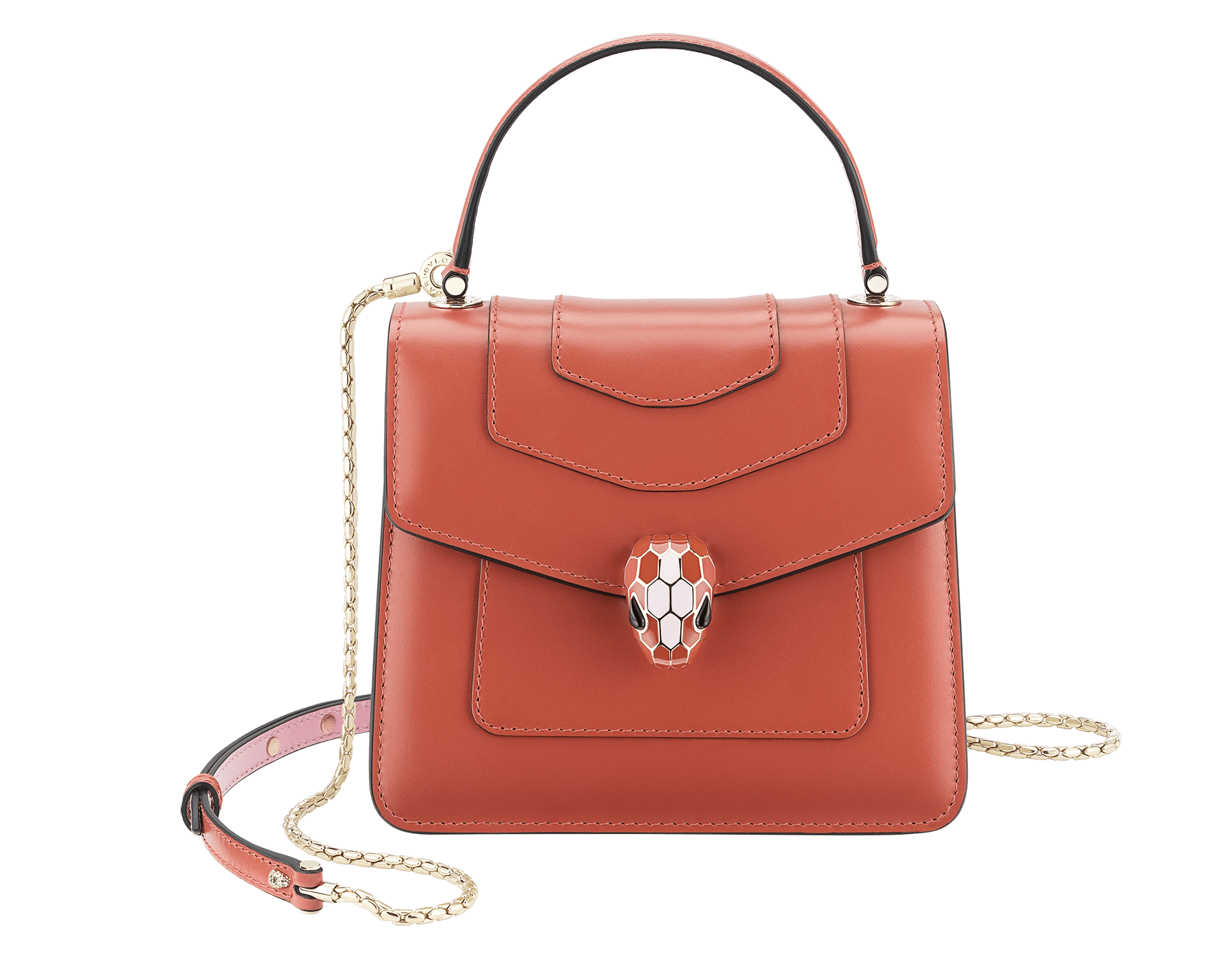 Serpenti Forever crossbody bag in imperial topaz calf leather with Roman garnet, rosa di francia and white agate calf leather sides. Iconic snakehead closure in light gold plated brass embellished with imperial topaz and rosa di francia enamel and black onyx eyes. 288889 image 1