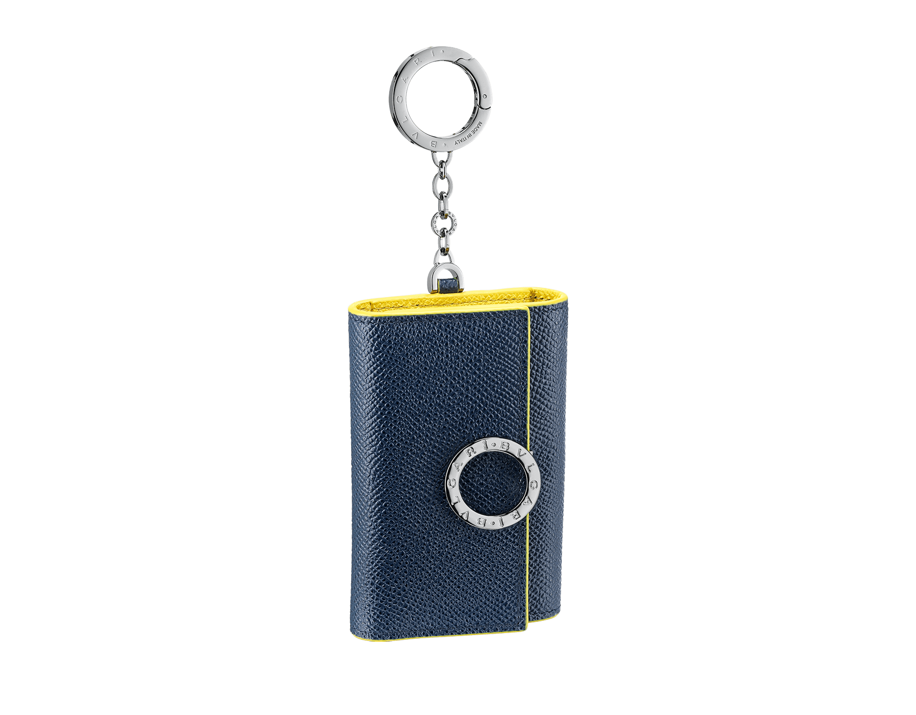 BVLGARI BVLGARI key holder in denim sapphire and daisy topaz grain calf leather. Iconic logo décor and snap hook in palladium-plated brass. 289866 image 1